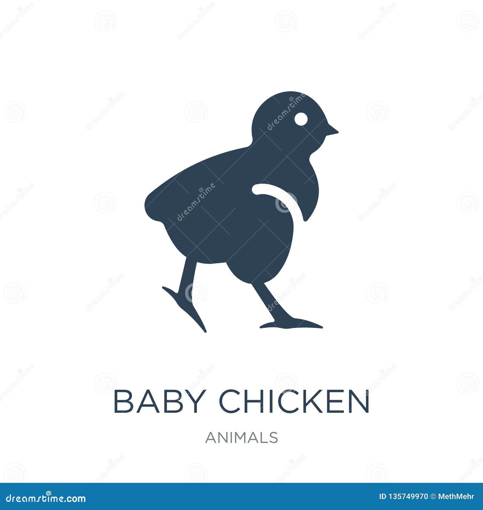 Icono del pollo del bebé en estilo de moda del diseño icono del pollo del bebé aislado en el fondo blanco icono del vector del po