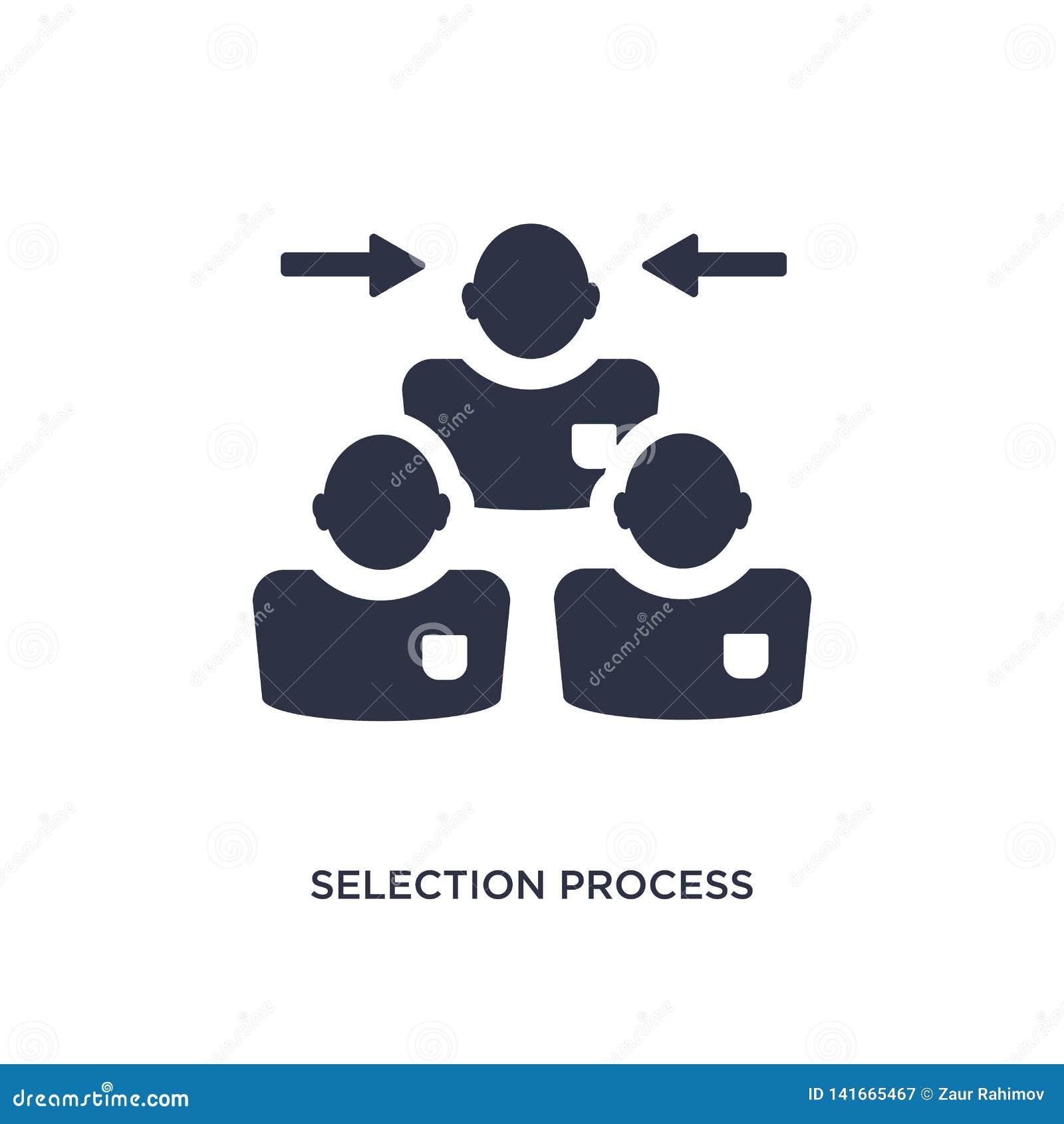 Icono del proceso de selección en el fondo blanco Ejemplo simple del elemento del concepto de los recursos humanos