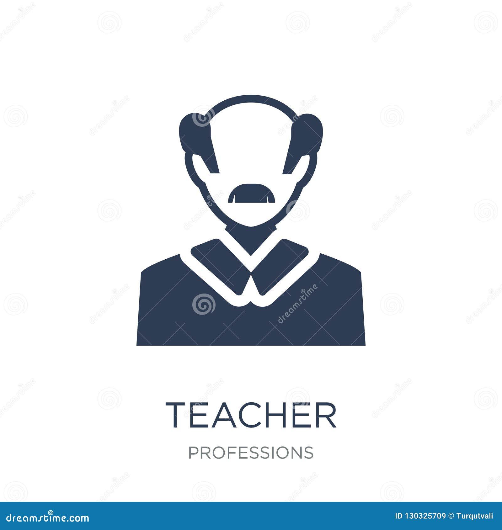 Icono del profesor Icono plano de moda del profesor del vector en el backgroun blanco