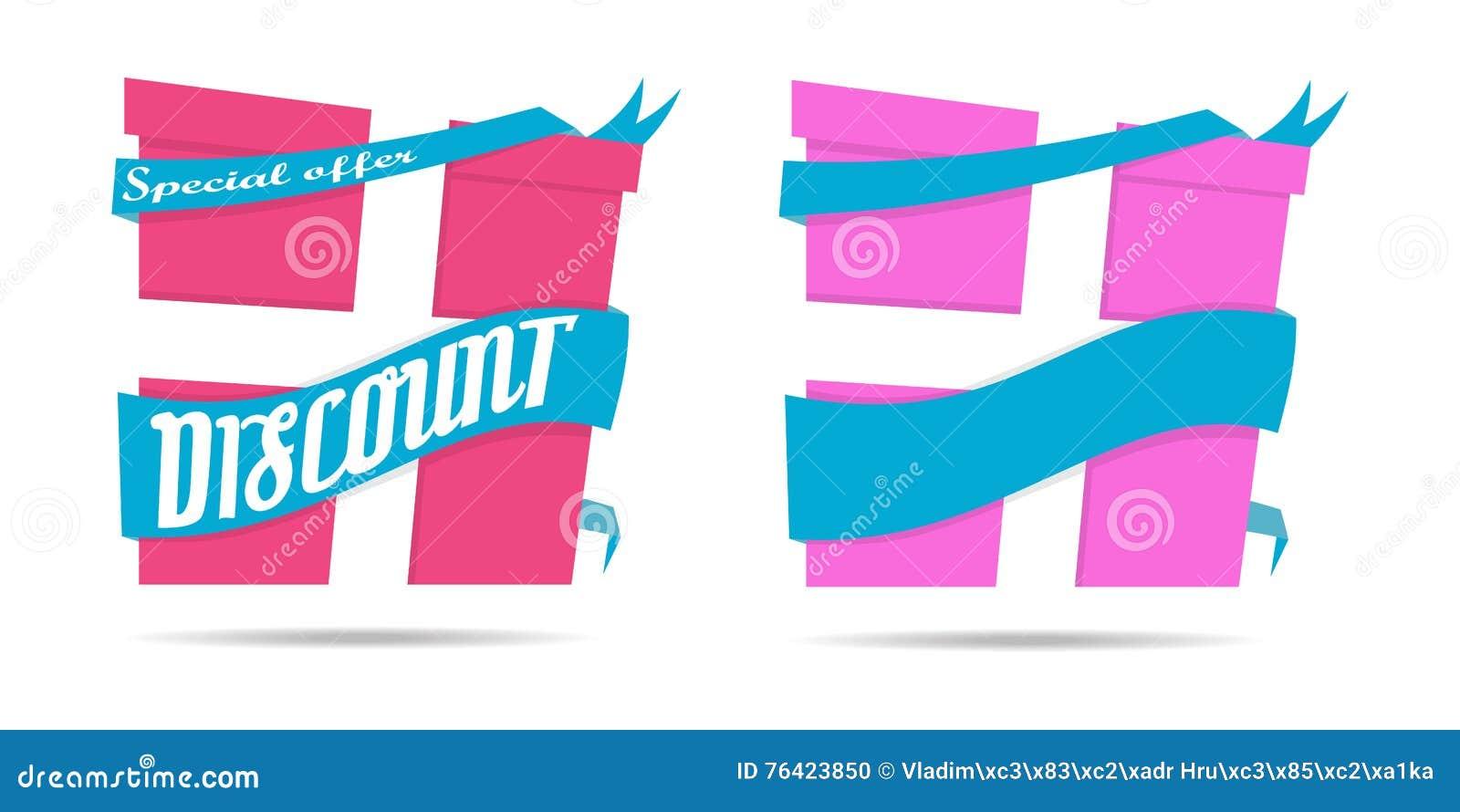 Icono del regalo de la muestra del descuento Sorprenda el ejemplo del vector de la cinta del papel de oferta especial del negocio