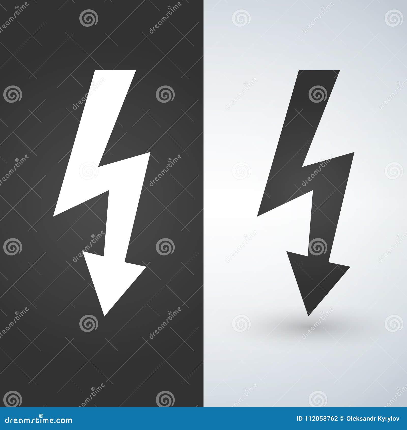 Icono del relámpago, Versión bicolor en fondo blanco y negro Aislado