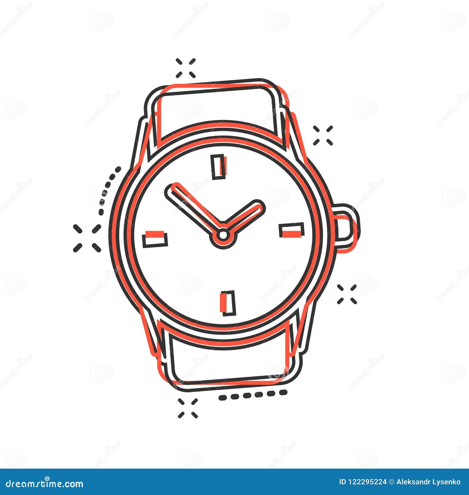 Icono Del Reloj La Historieta Cómico En Vector De Estilo yvmn0wNO8