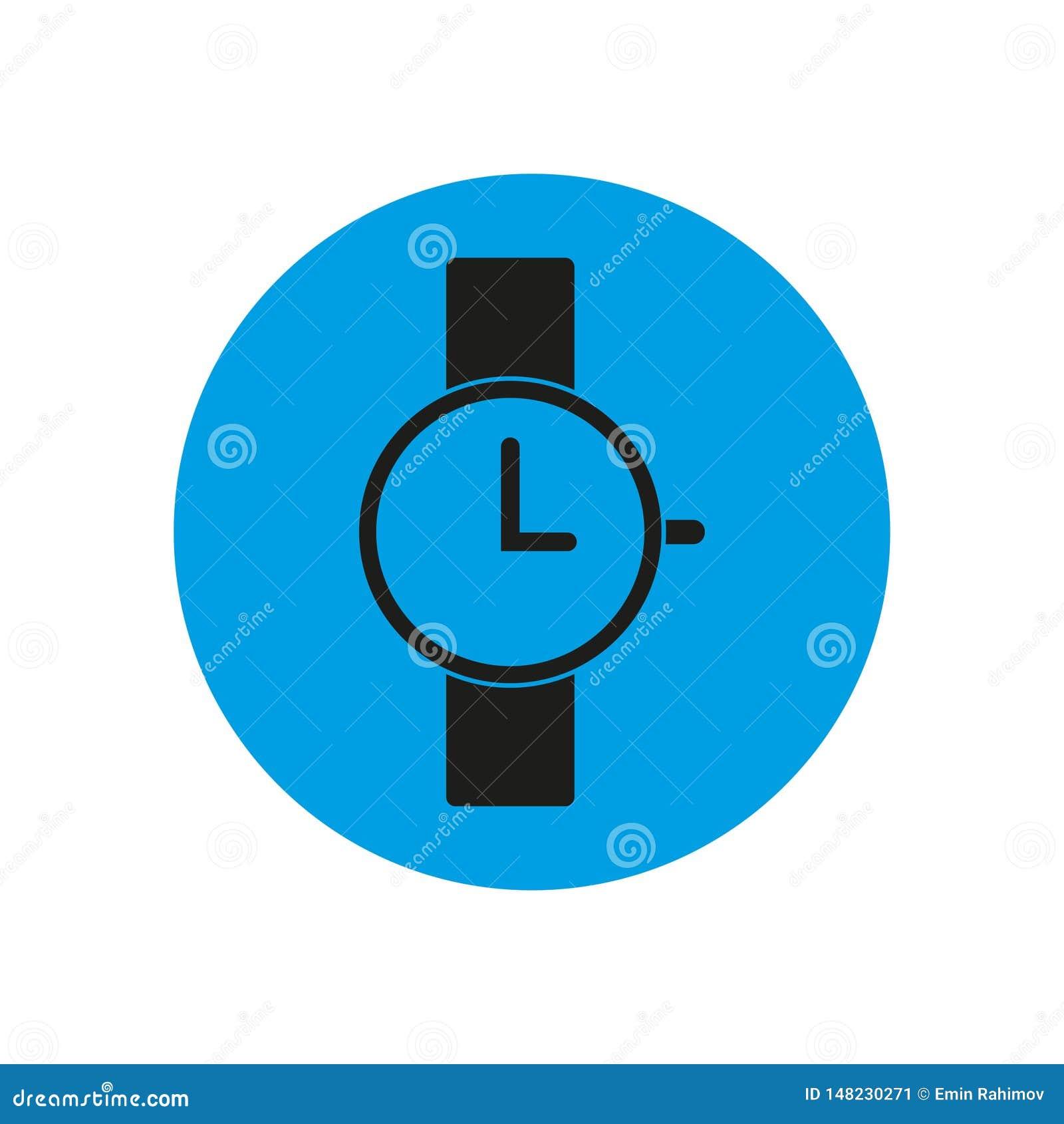 Icono del reloj en círculo azul