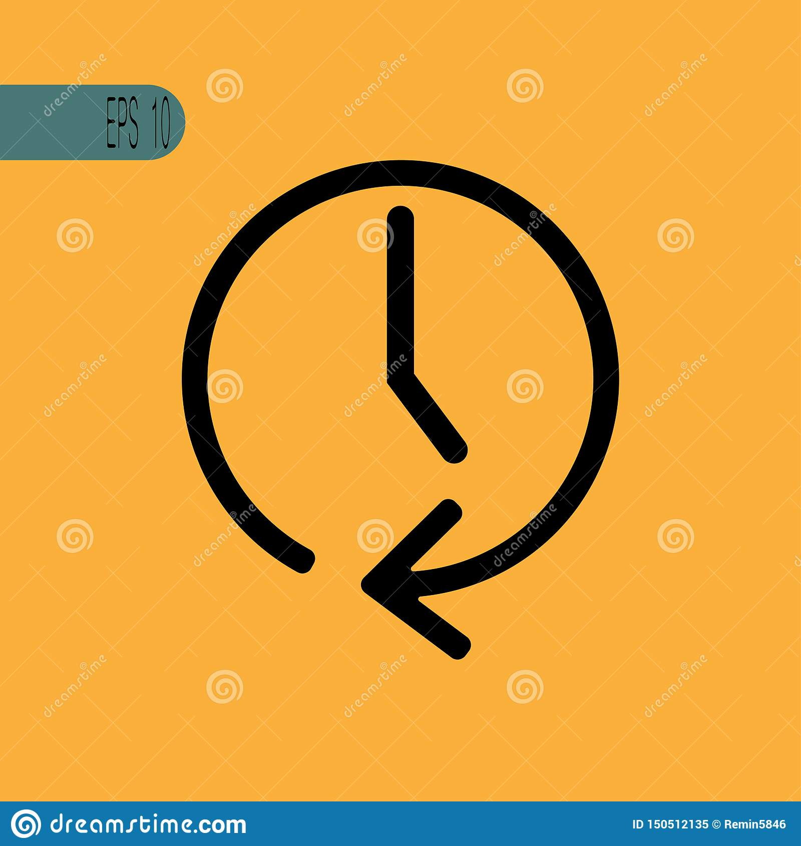 Icono del reloj del vector con la flecha - ejemplo del vector