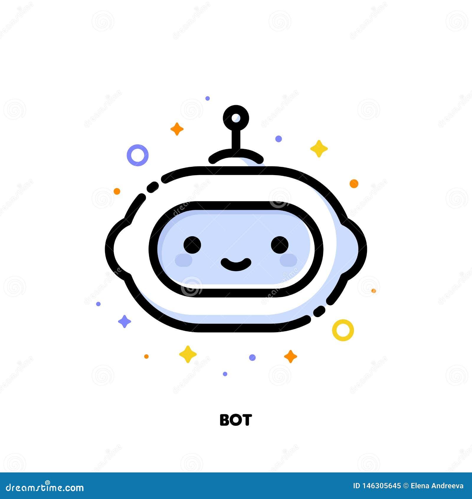 Icono del robot lindo que simboliza la inteligencia artificial o al ayudante virtual para el concepto de SEO Estilo llenado plano