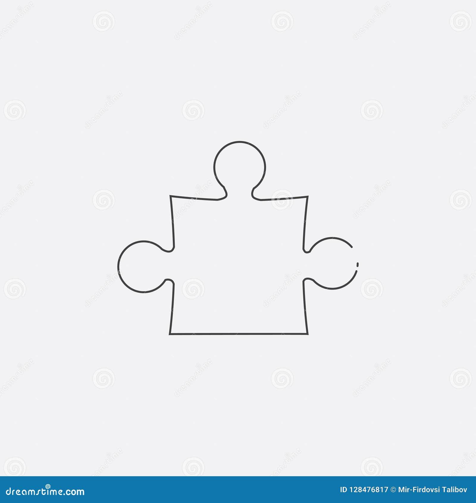 Icono del rompecabezas, ejemplo del vector Línea plana icono