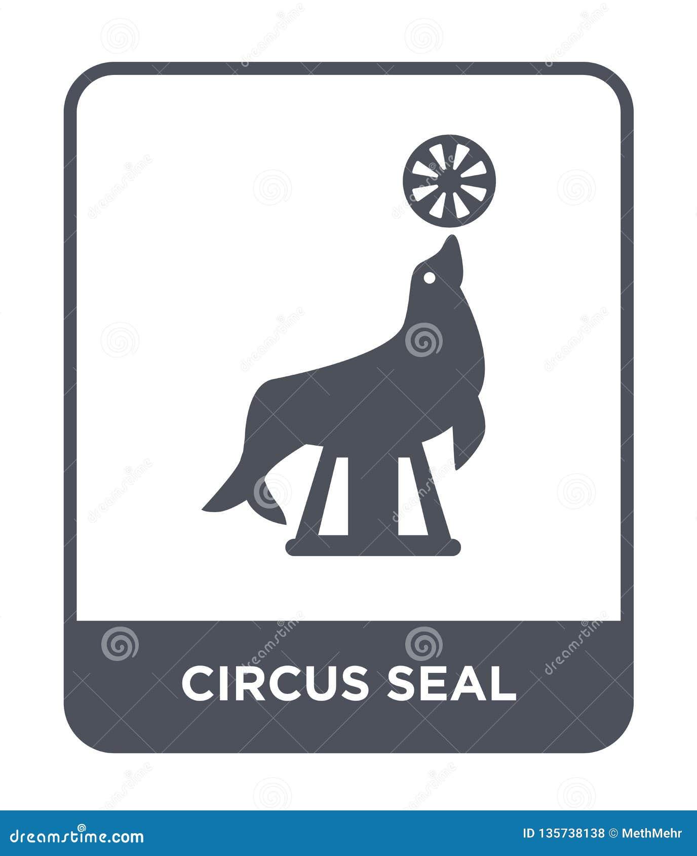 Icono del sello del circo en estilo de moda del diseño icono del sello del circo aislado en el fondo blanco icono del vector del