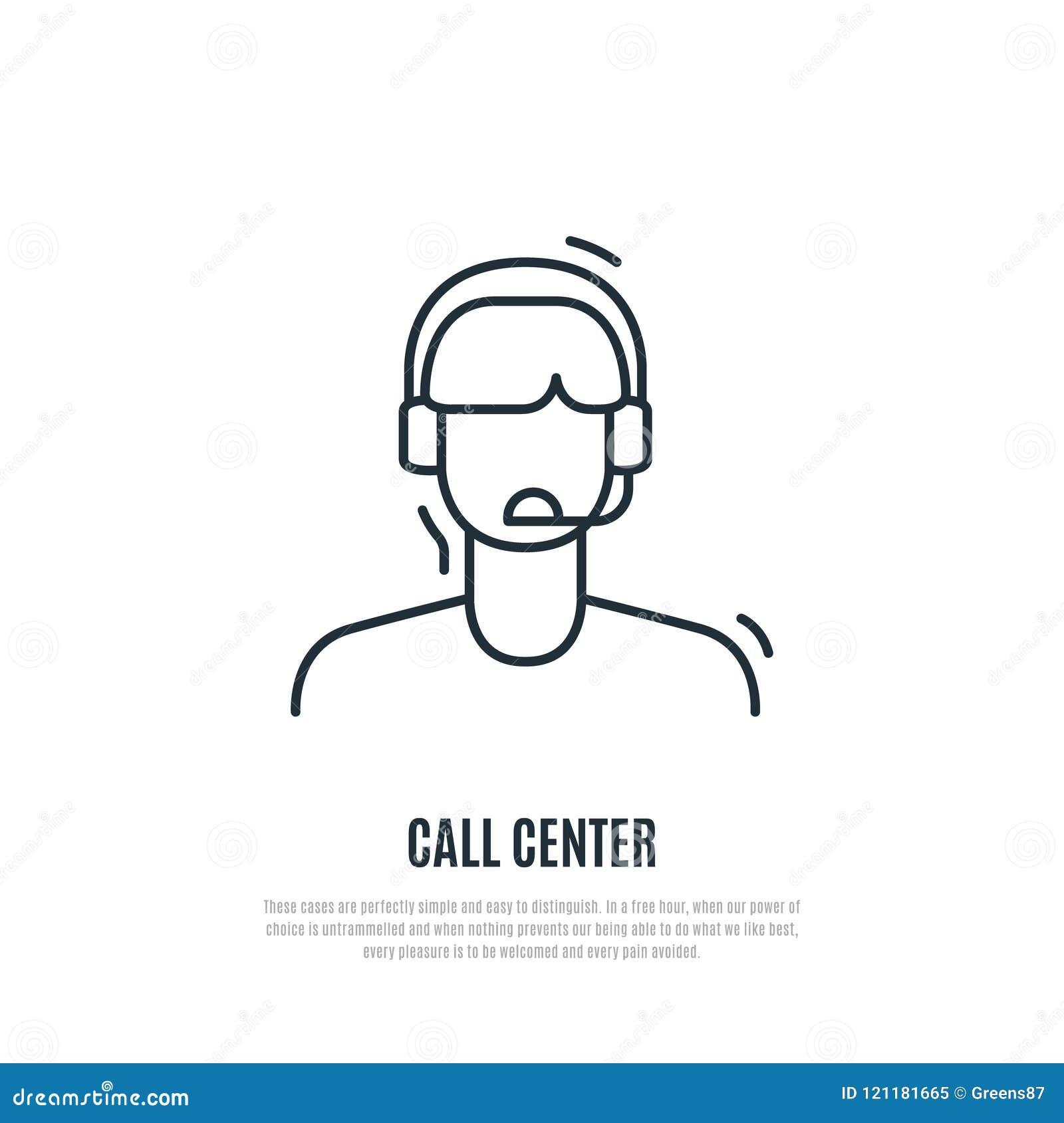 Icono del servicio de atención al cliente Operador del centro del contacto con el auricular