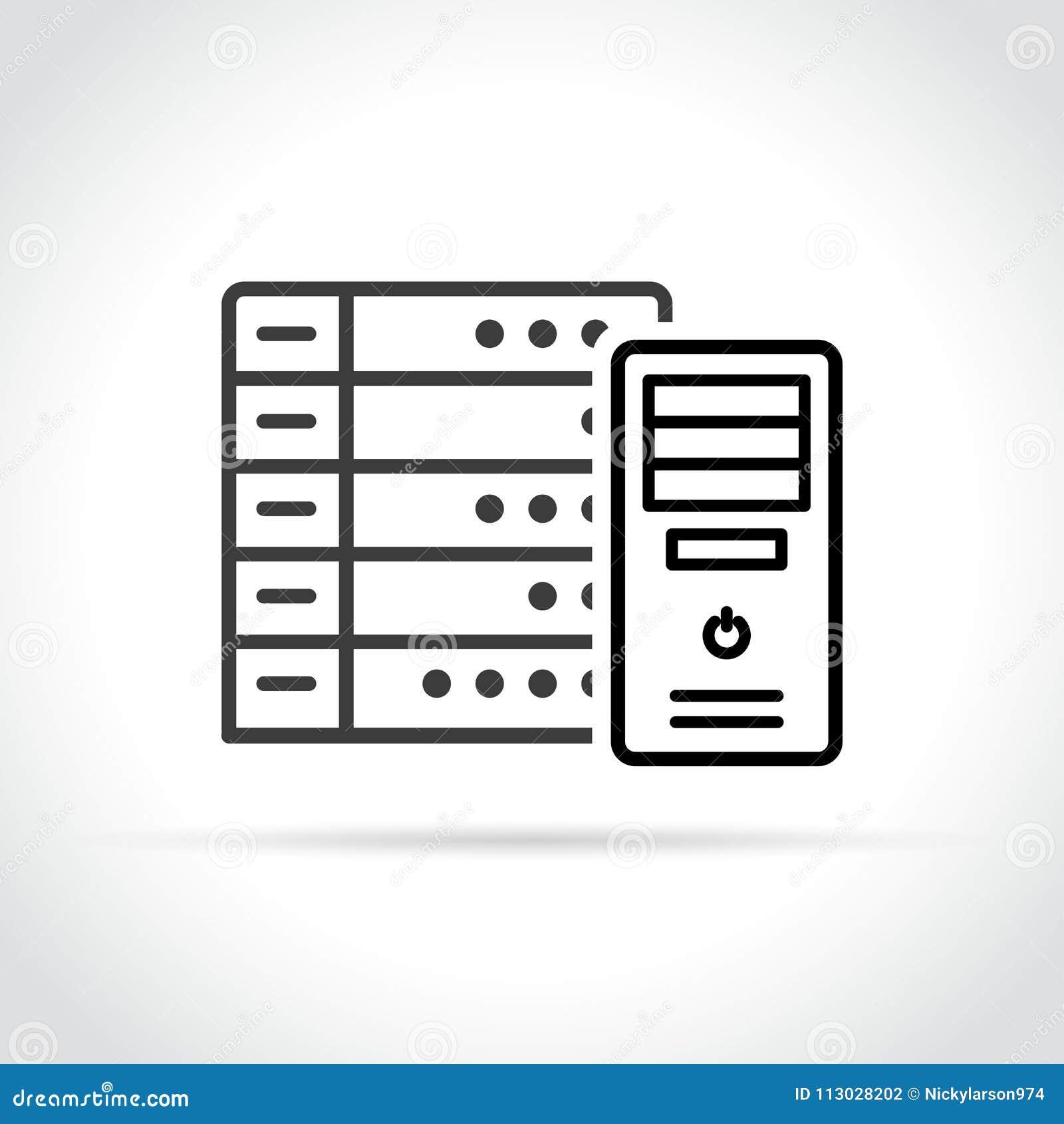 Icono del servidor en el fondo blanco