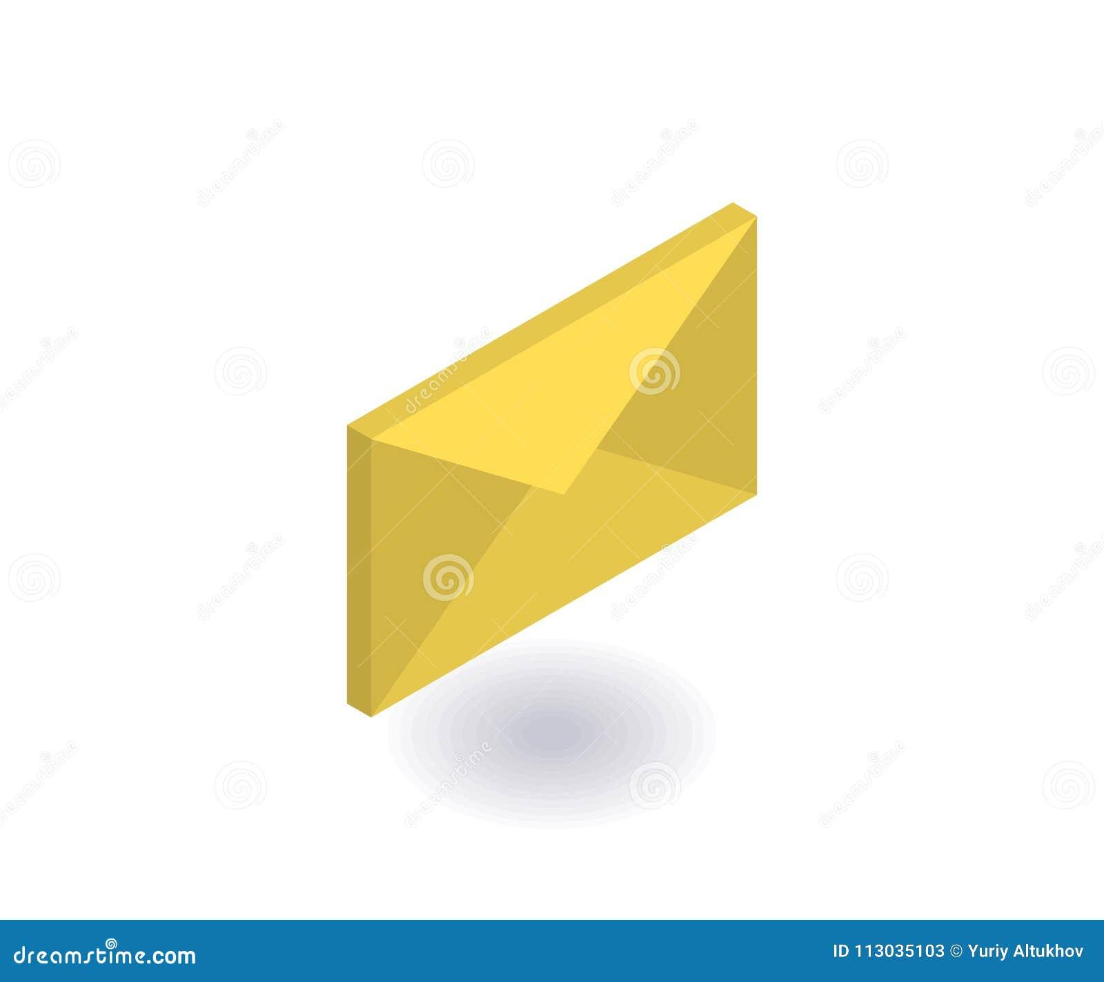 Icono del sobre, ejemplo del vector en el estilo isométrico plano 3D