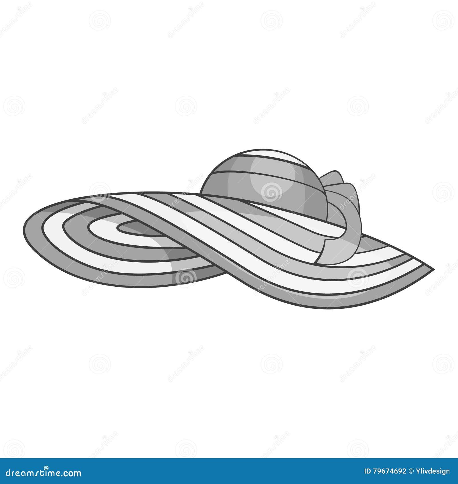 e57b7d6dac1d7 Icono del sombrero de la playa Ejemplo monocromático gris del icono del  vector del sombrero de la playa para el diseño web