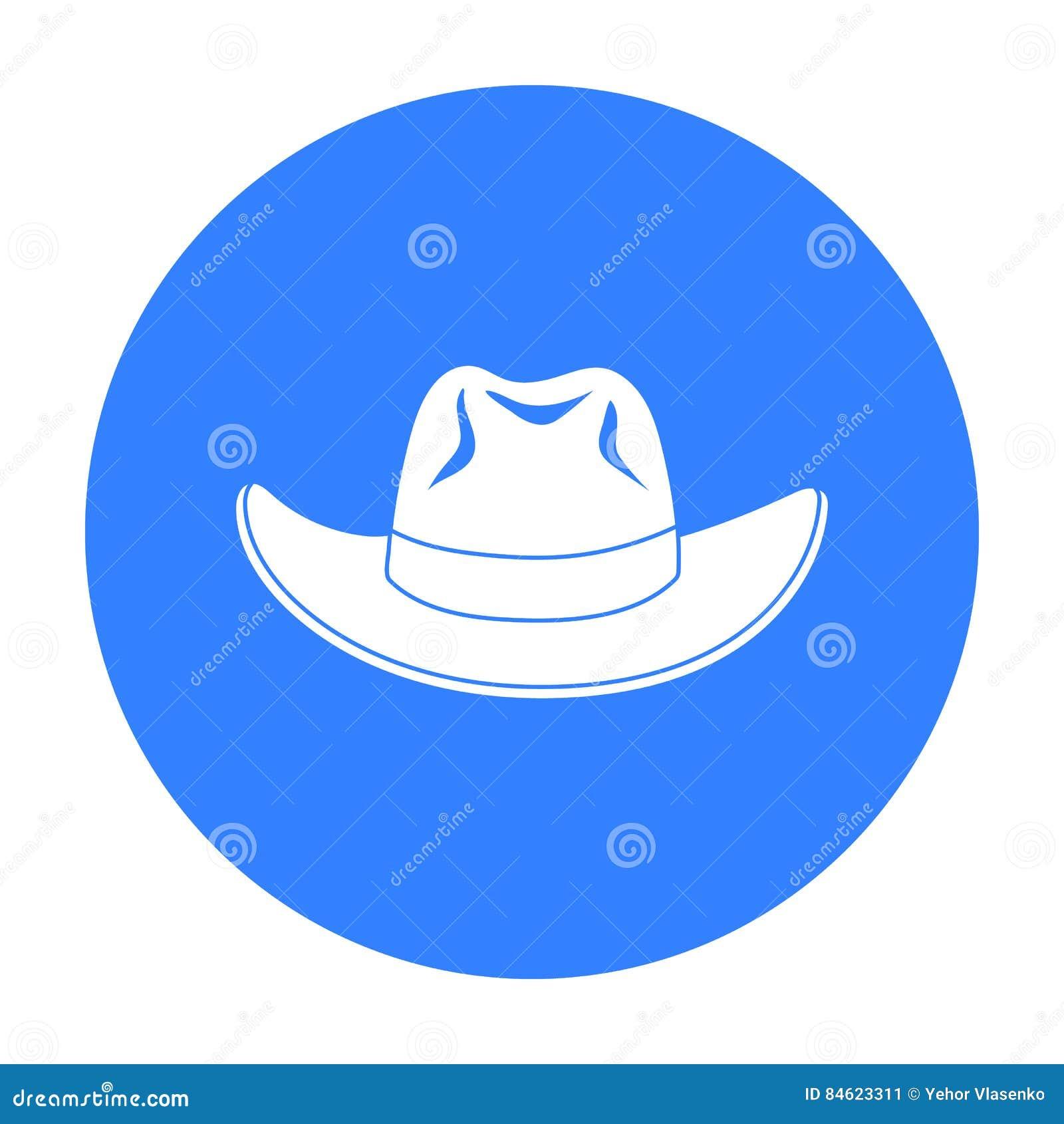 Icono del sombrero de vaquero en estilo negro aislado en el fondo blanco  Ejemplo del vector fb3239ef6b6
