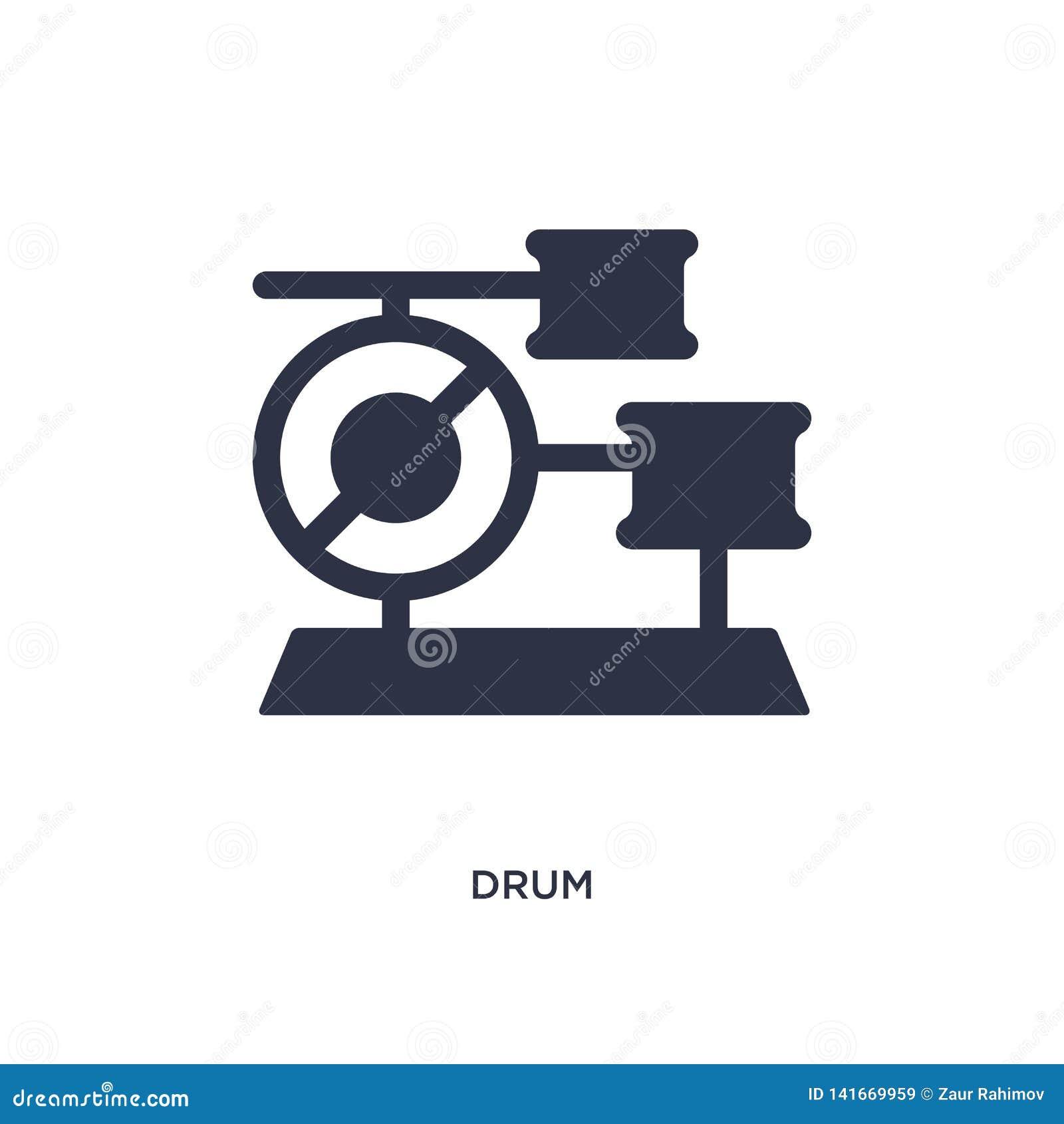 Icono del tambor en el fondo blanco Ejemplo simple del elemento del concepto del brazilia
