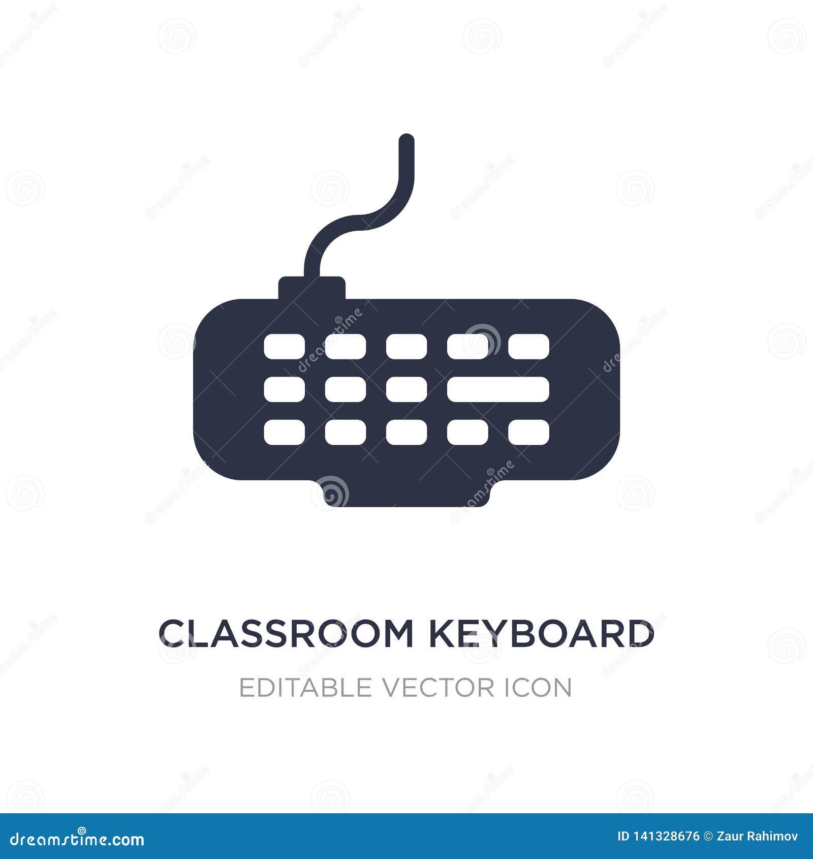 Icono del teclado de la sala de clase en el fondo blanco Ejemplo simple del elemento del concepto del ordenador