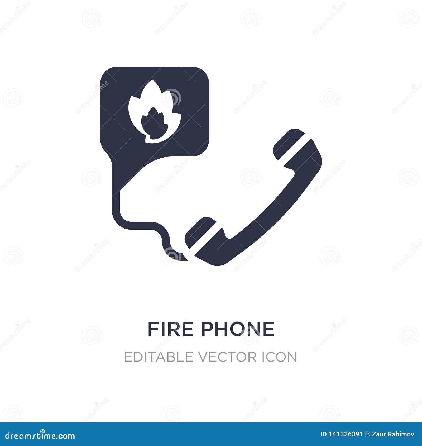 Icono del teléfono del fuego en el fondo blanco Ejemplo simple del elemento del concepto de la seguridad