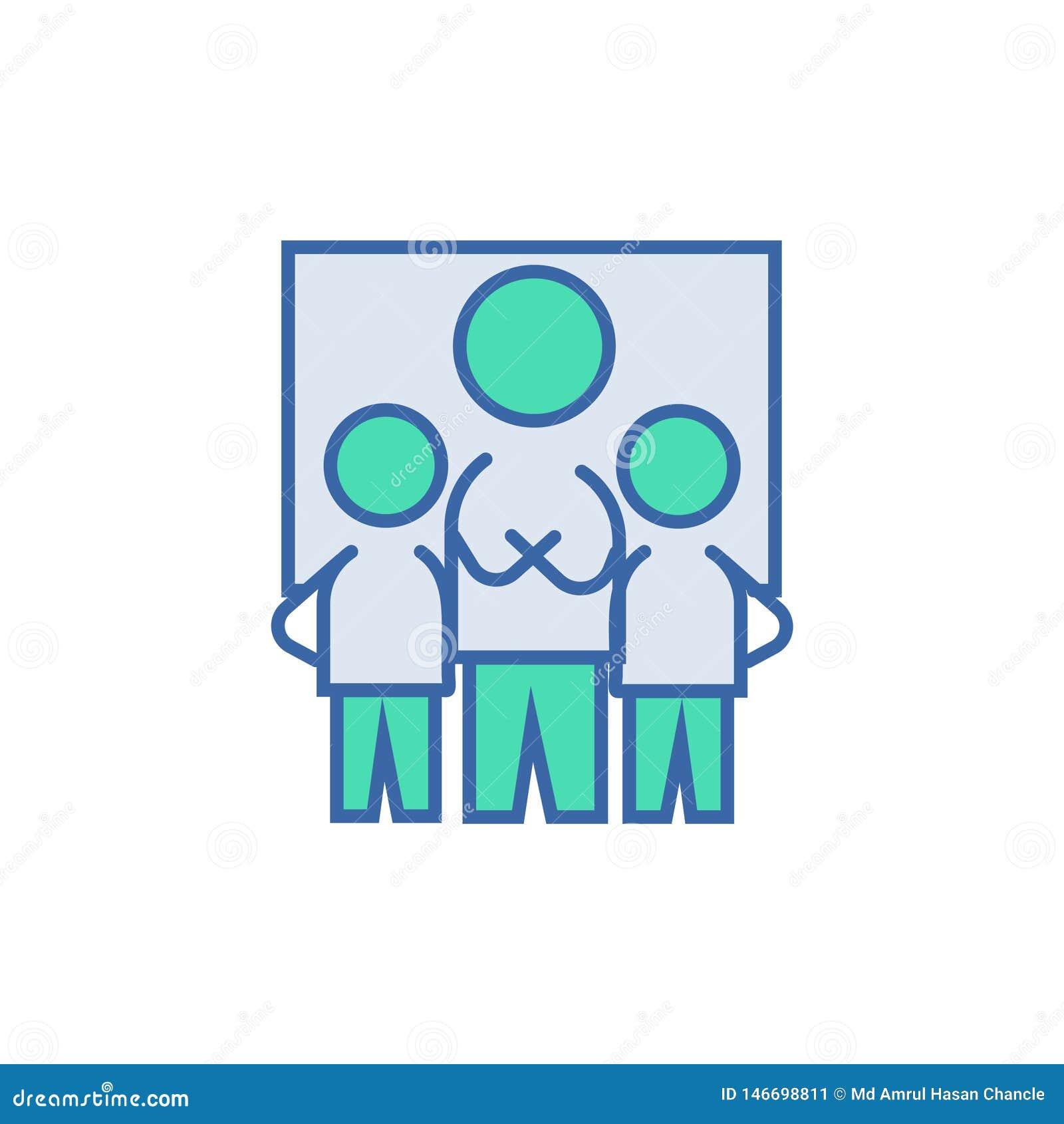 Icono del trabajo en equipo símbolo del esquema y del diagrama del vector icono plano del trabajo en equipo