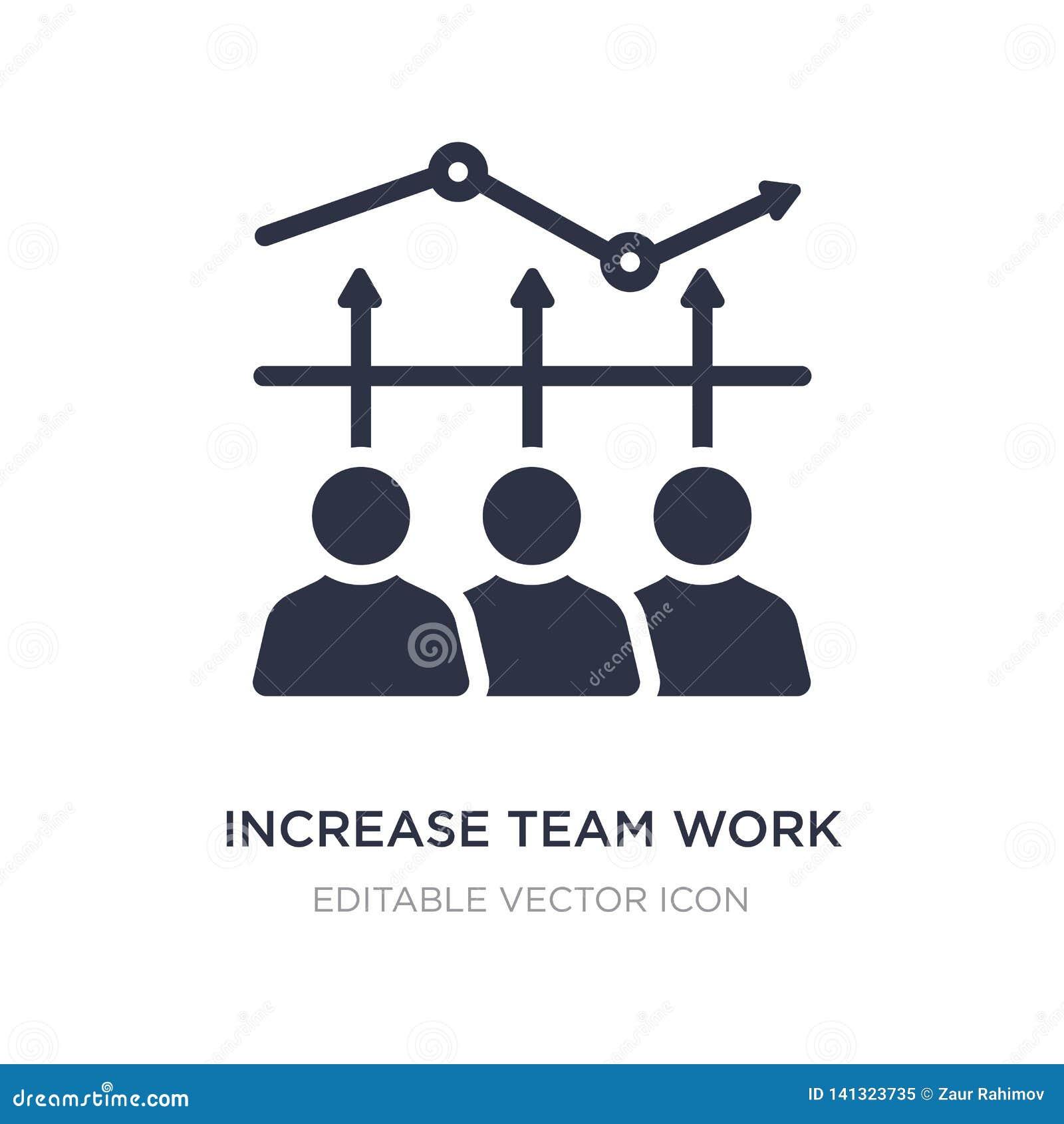 Icono del trabajo del equipo del aumento en el fondo blanco Ejemplo simple del elemento del concepto del negocio