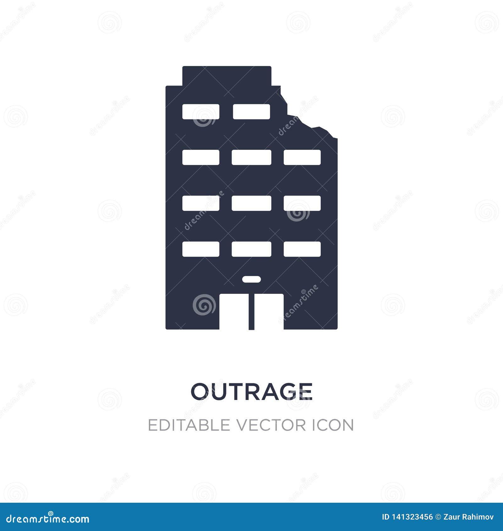 Icono del ultraje en el fondo blanco Ejemplo simple del elemento del concepto de los edificios
