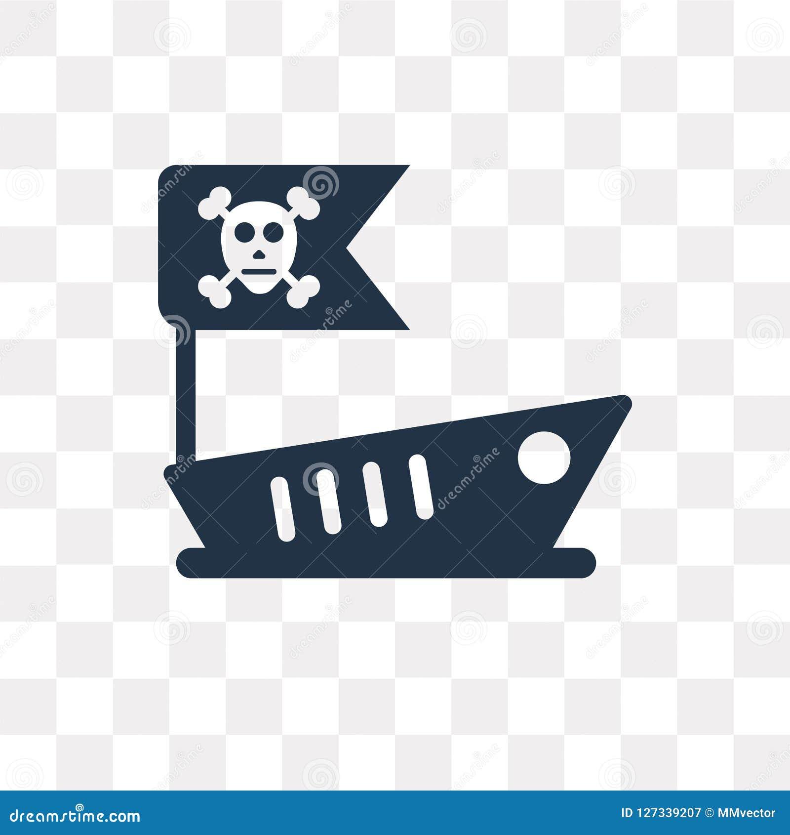 Icono del vector del barco pirata aislado en el fondo transparente, Pira