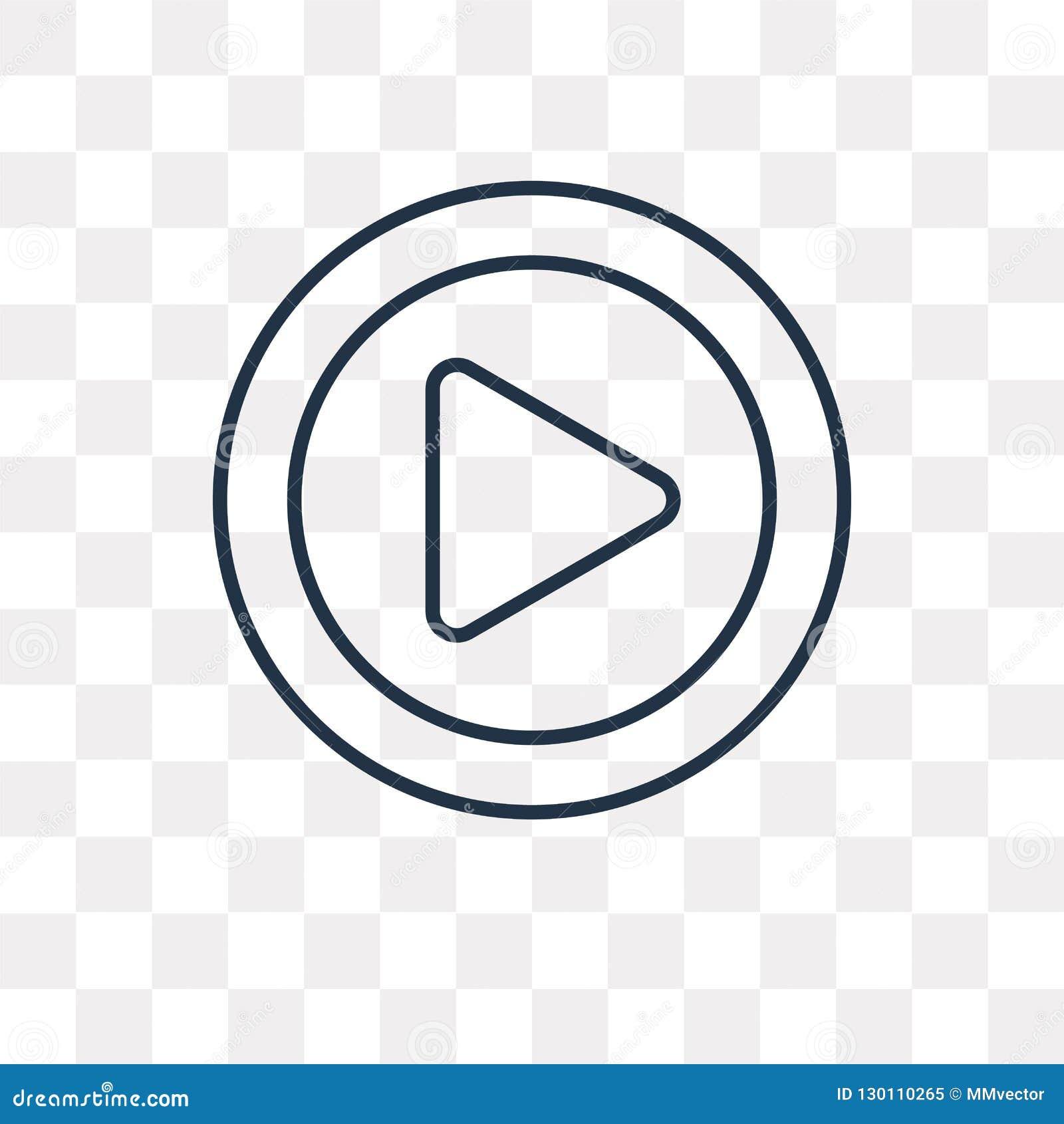 Icono del vector del botón de reproducción aislado en el fondo transparente, línea
