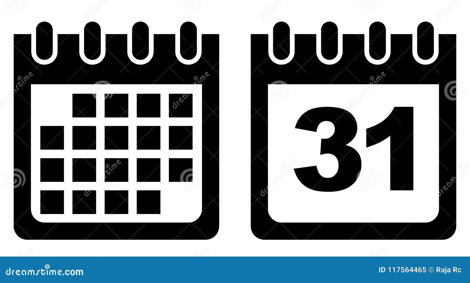 Calendario En Blanco.Icono Del Vector Del Calendario Blanco Y Negro Ilustracion Del