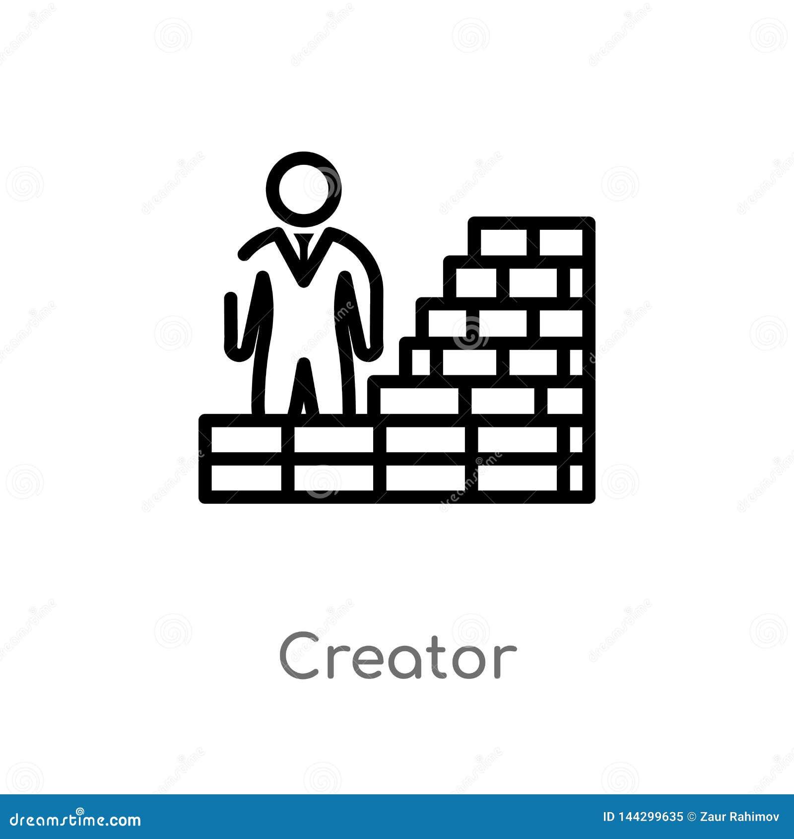 Icono del vector del creador del esquema línea simple negra aislada ejemplo del elemento del concepto crowdfunding Movimiento Edi