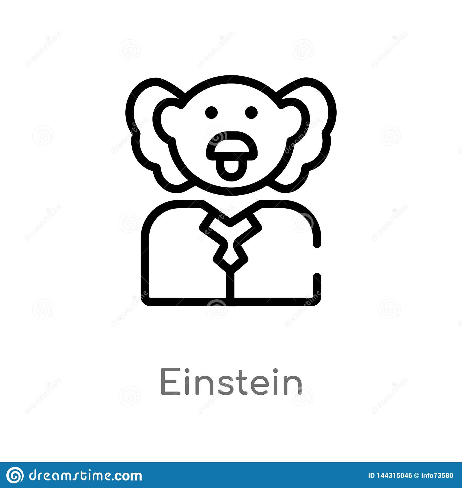 Icono del vector de einstein del esquema l?nea simple negra aislada ejemplo del elemento del concepto de la ciencia Movimiento Ed