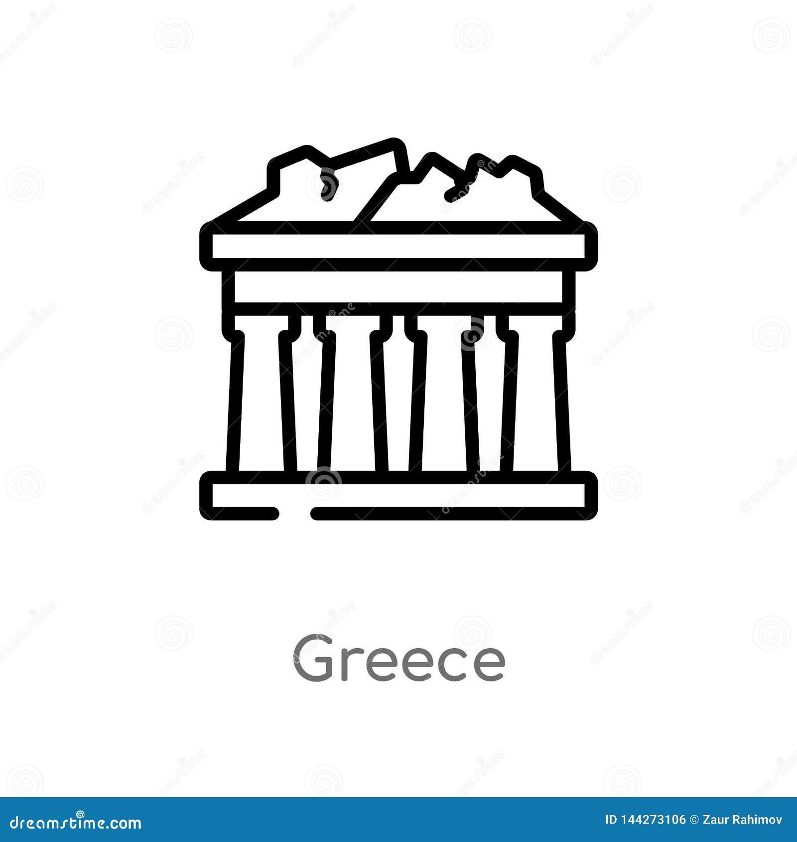 Icono del vector de Grecia del esquema l?nea simple negra aislada ejemplo del elemento del concepto de los edificios movimiento e