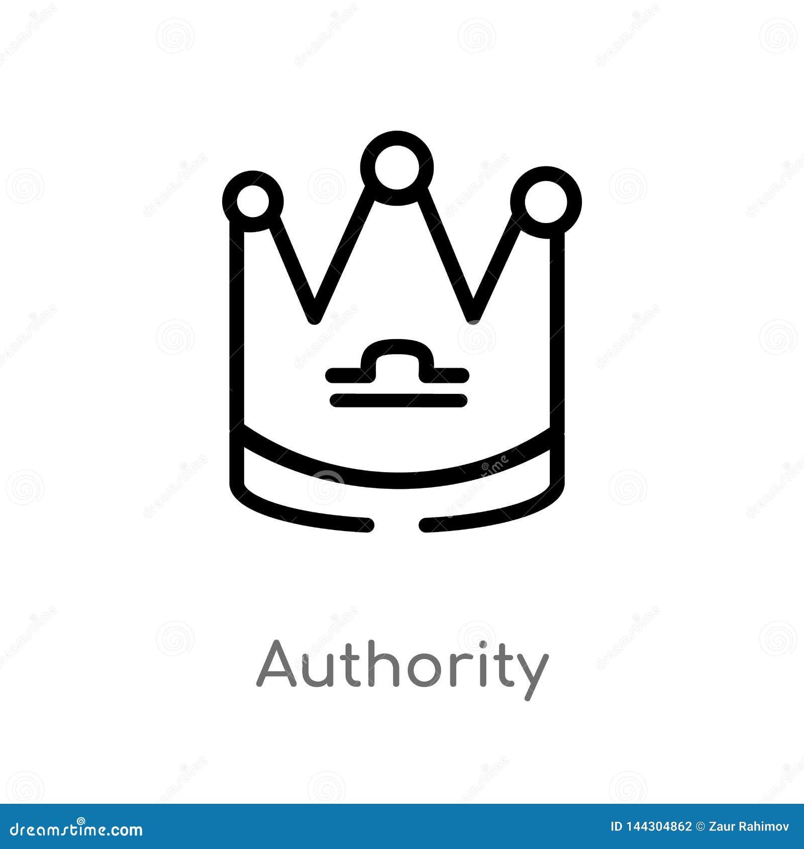 Icono del vector de la autoridad del esquema línea simple negra aislada ejemplo del elemento del concepto del zodiaco Movimiento