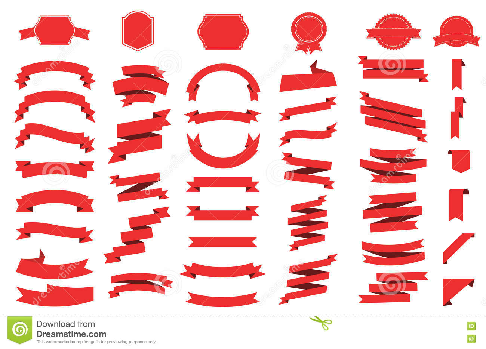 Icono del vector de la bandera fijado en el fondo blanco La cinta aisló el ejemplo de las formas del regalo y del accesorio