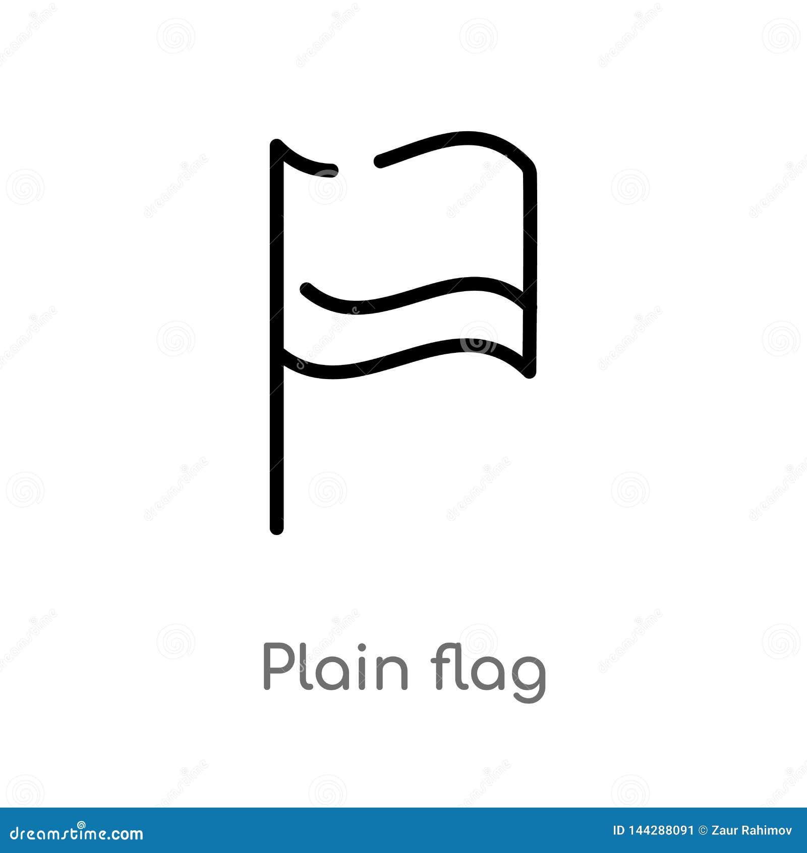 Icono del vector de la bandera del llano del esquema línea simple negra aislada ejemplo del elemento de mapas y del concepto de l