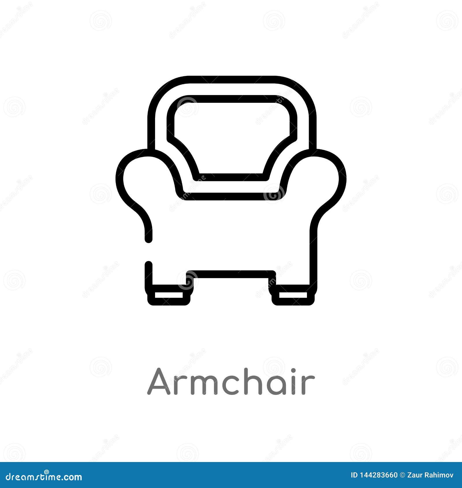 Icono del vector de la butaca del esquema l?nea simple negra aislada ejemplo del elemento del concepto de los muebles Movimiento