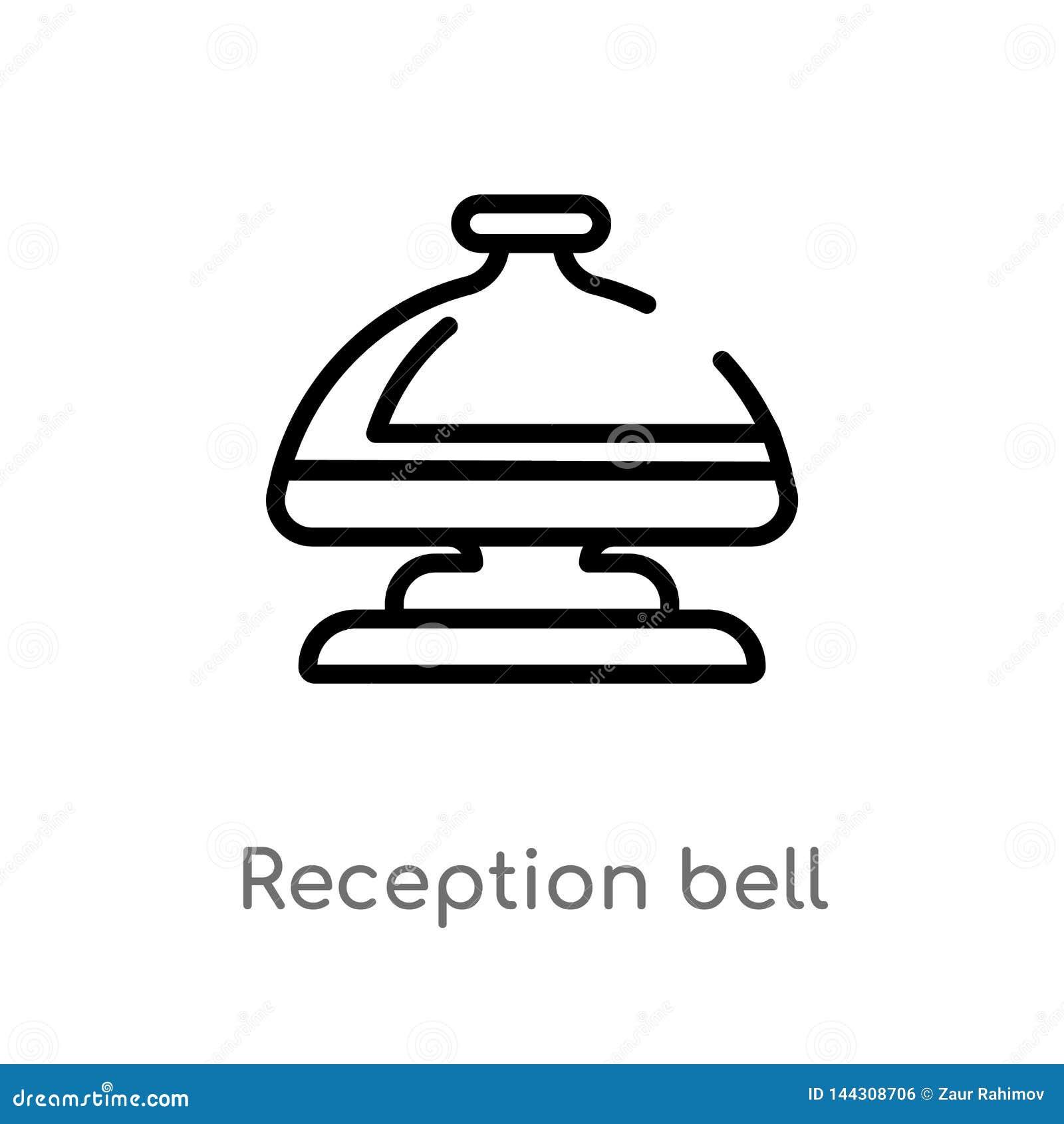 Icono del vector de la campana de la recepci?n del esquema l?nea simple negra aislada ejemplo del elemento del concepto del hotel