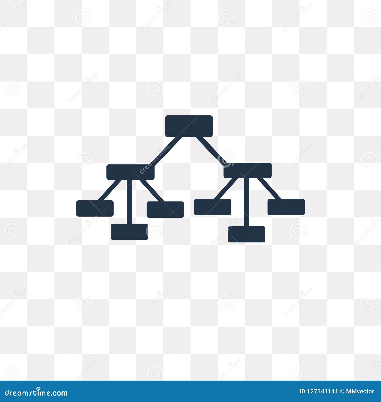 Icono del vector de la estructura jerárquica aislado en backg transparente