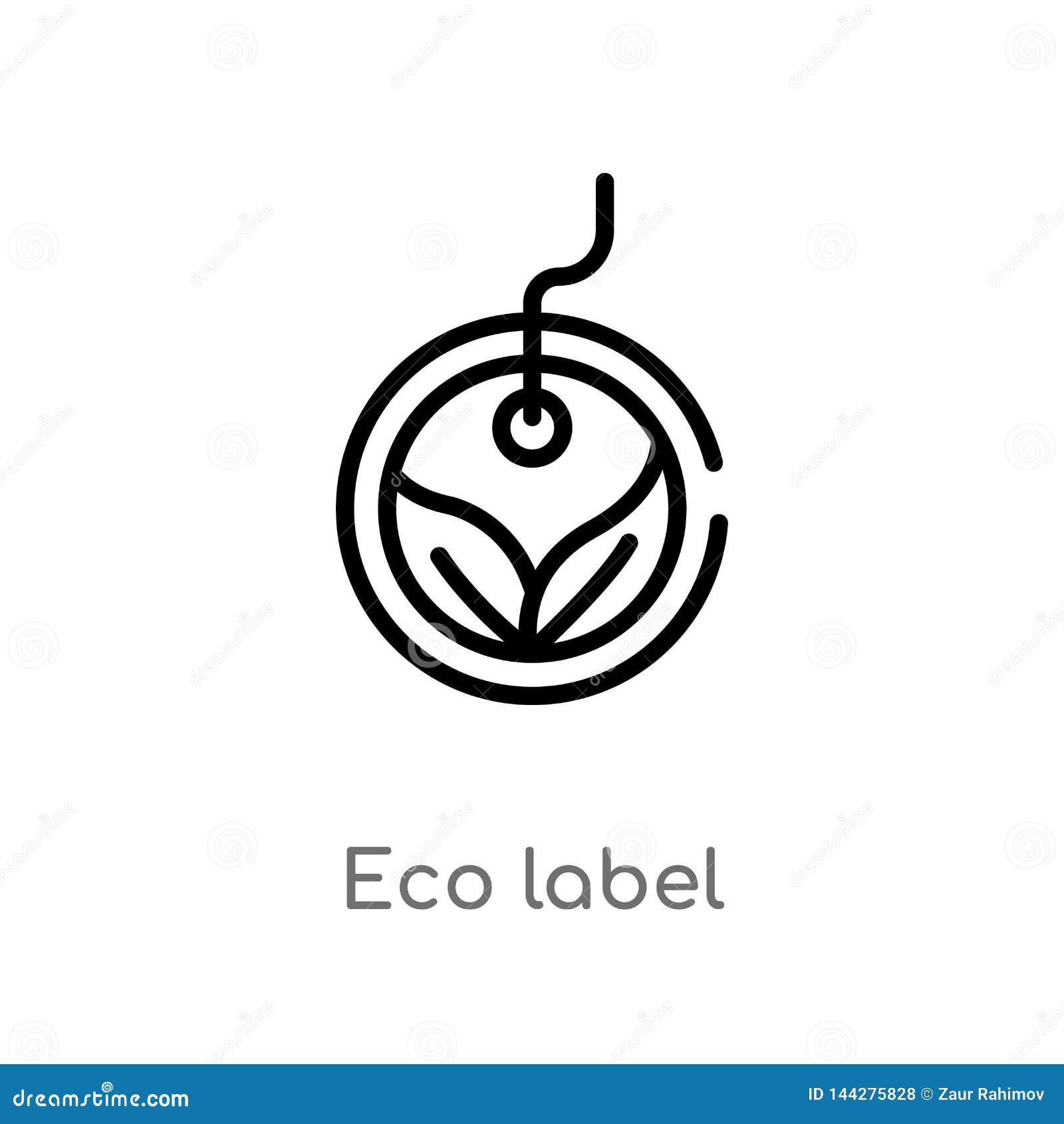 Icono del vector de la etiqueta del eco del esquema l?nea simple negra aislada ejemplo del elemento del concepto del comercio eco