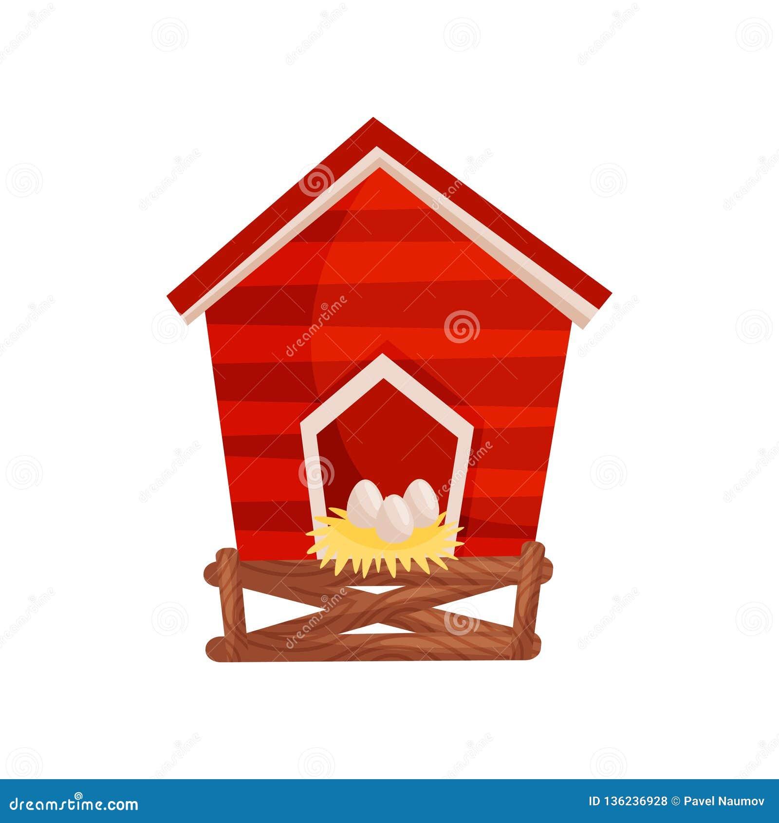 Icono del vector de la historieta del gallinero de pollo rojo brillante, huevos frescos en la casa de madera de la jerarquía para