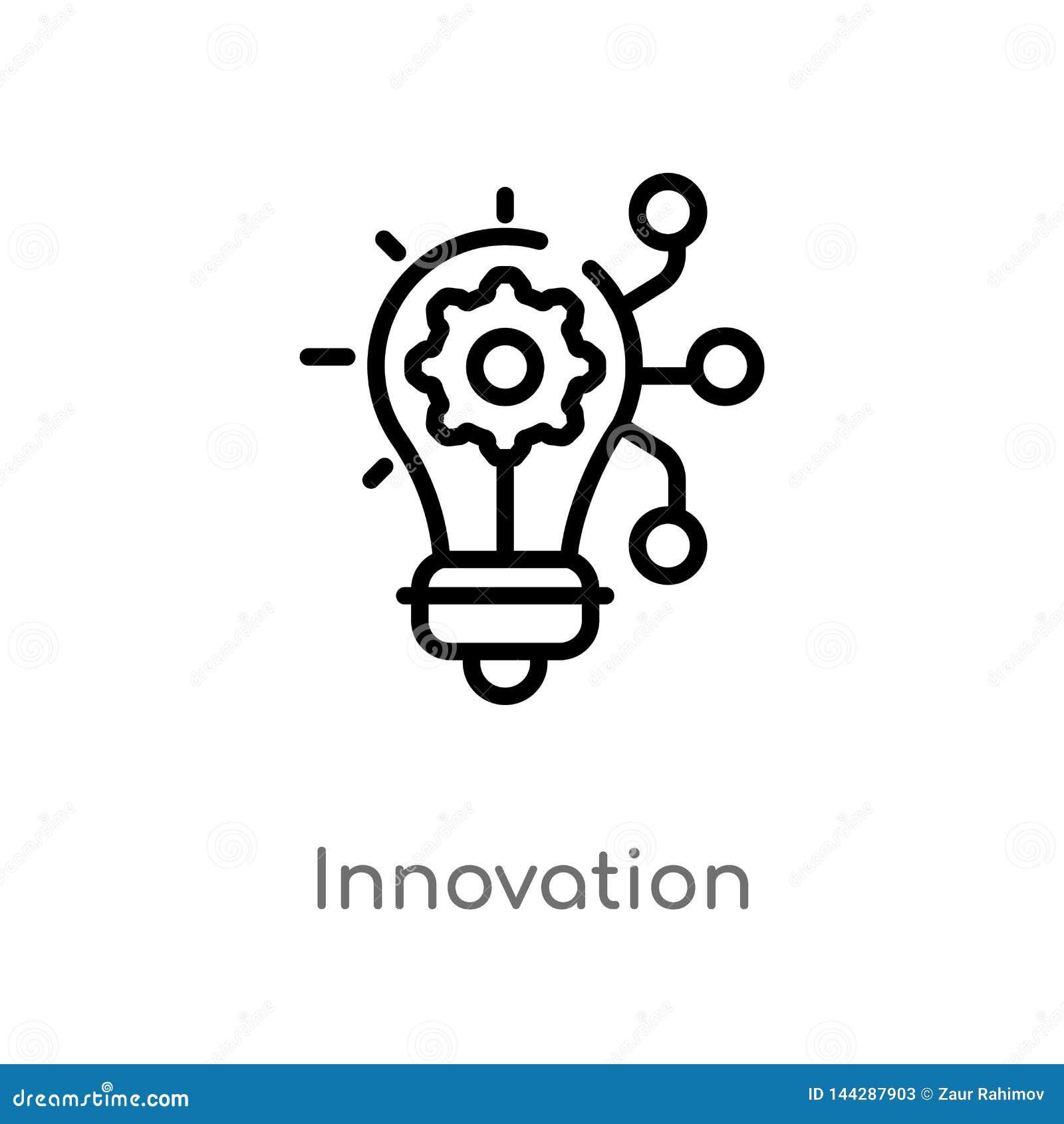 Icono del vector de la innovación del esquema línea simple negra aislada ejemplo del elemento del concepto de comercialización Mo