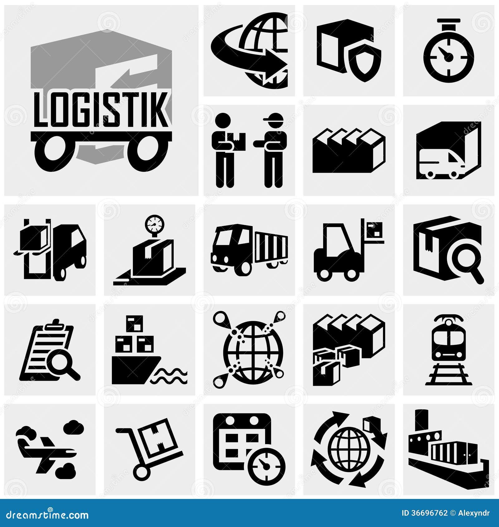 Icono del vector de la logística fijado en gris
