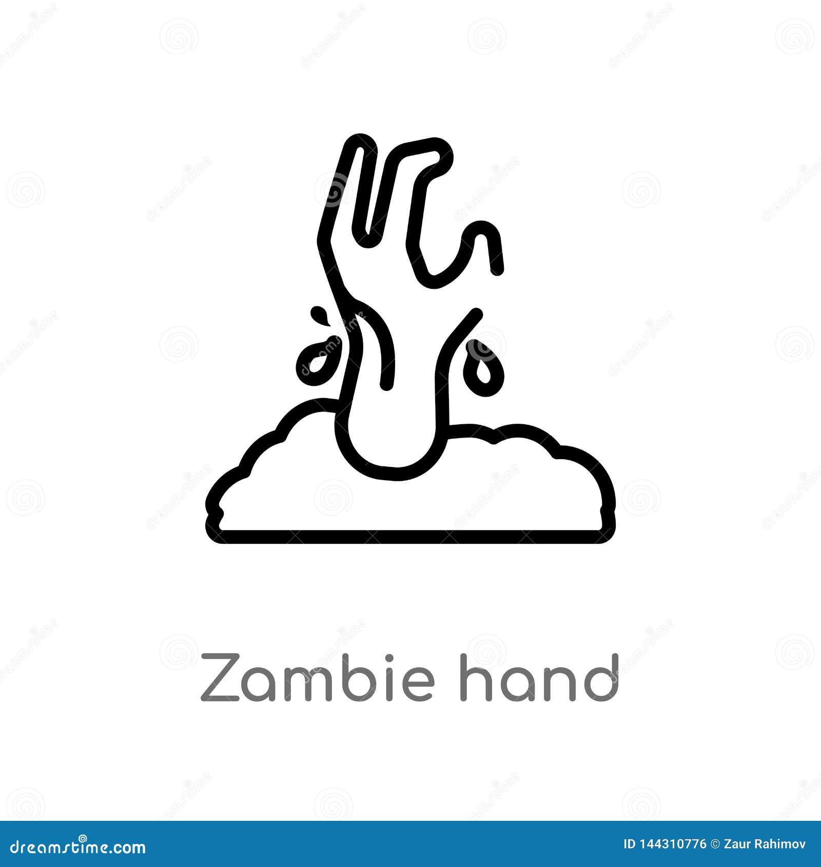 Icono del vector de la mano del zambie del esquema l?nea simple negra aislada ejemplo del elemento del otro concepto zambie edita