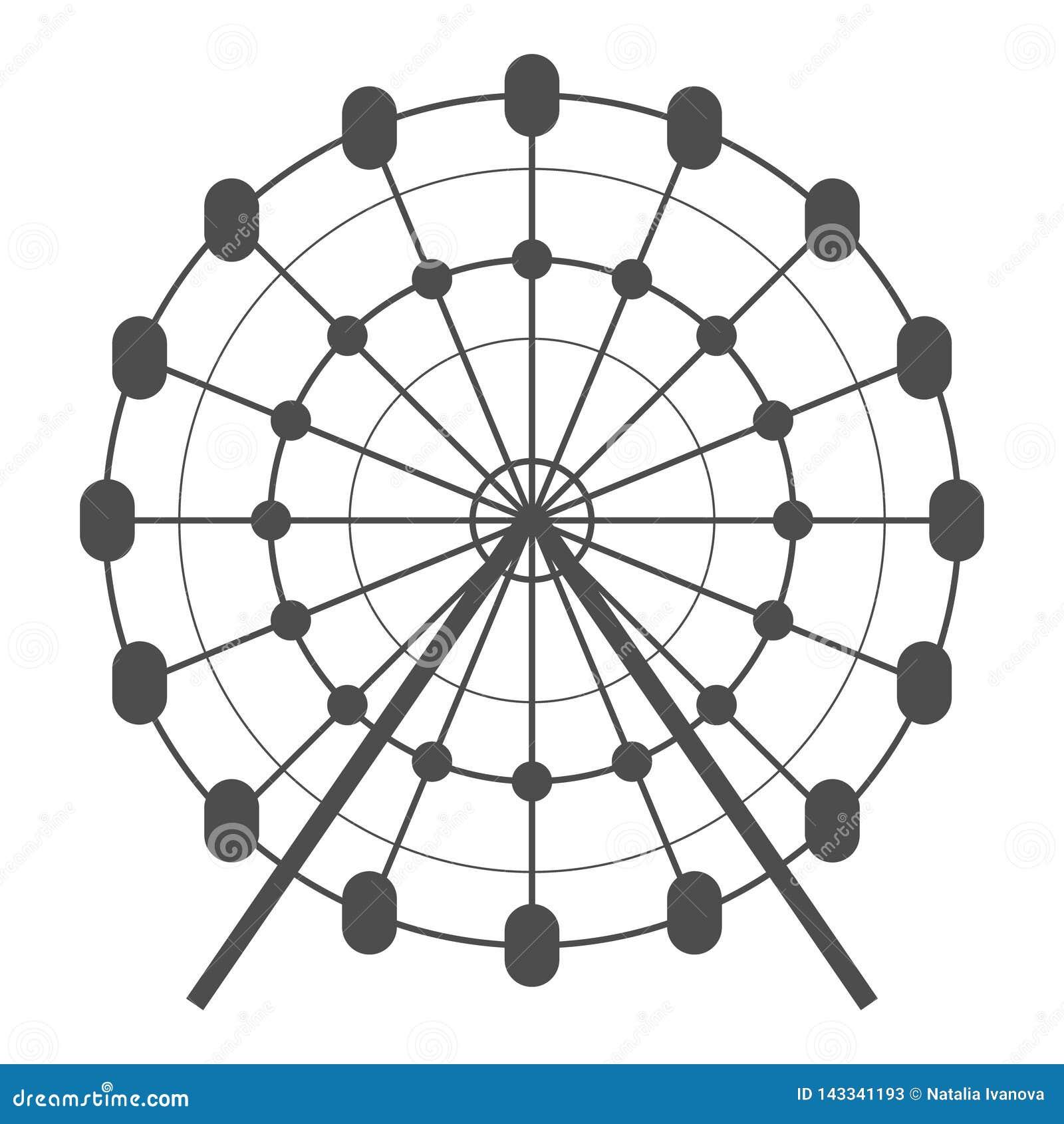 Icono del vector de la noria Carrusel en icono del parque Ejemplo del paseo de la diversión Pictograma simple del concepto del ne