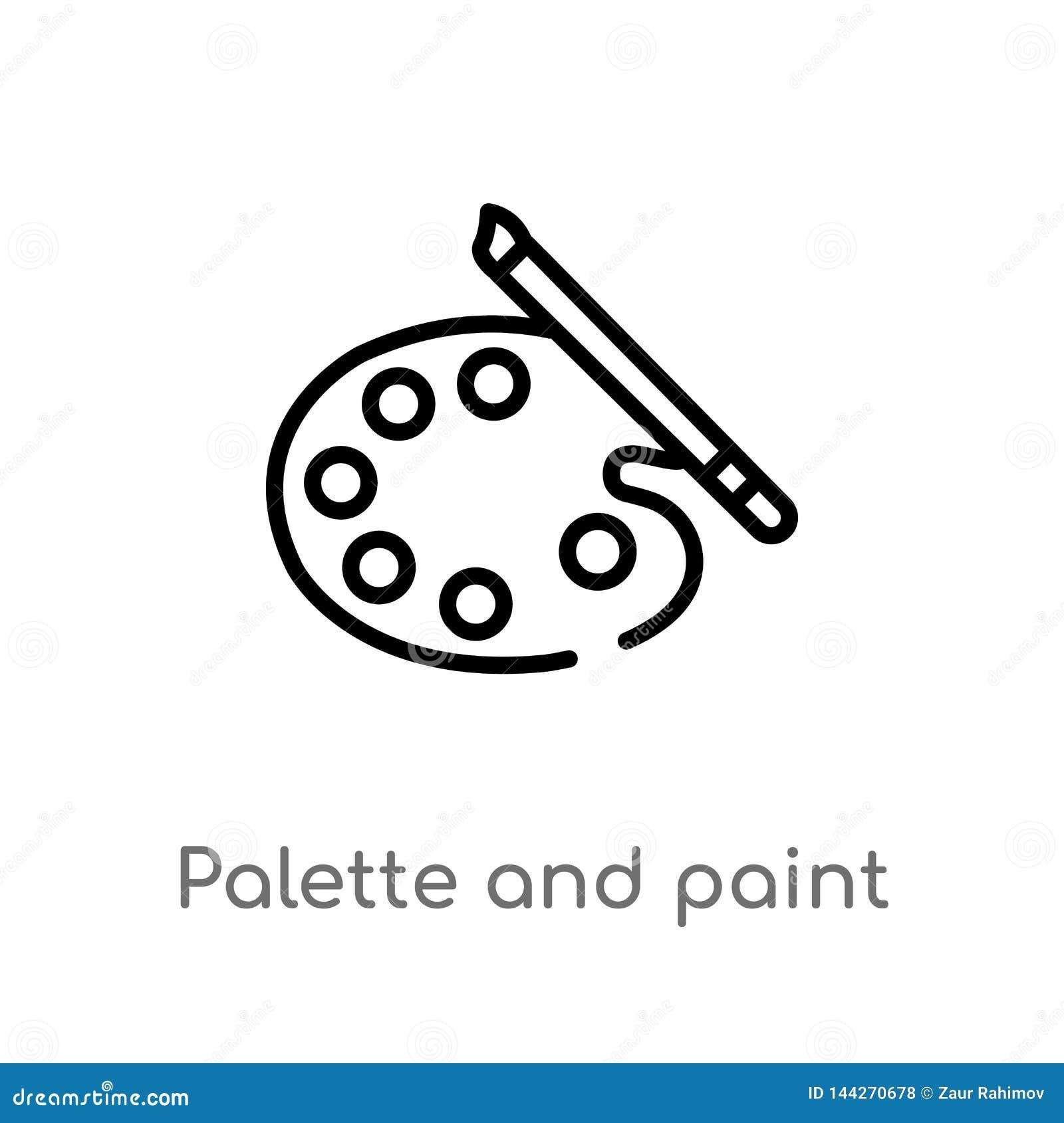 Icono del vector de la paleta y de la brocha del esquema l?nea simple negra aislada ejemplo del elemento del concepto del arte Ve