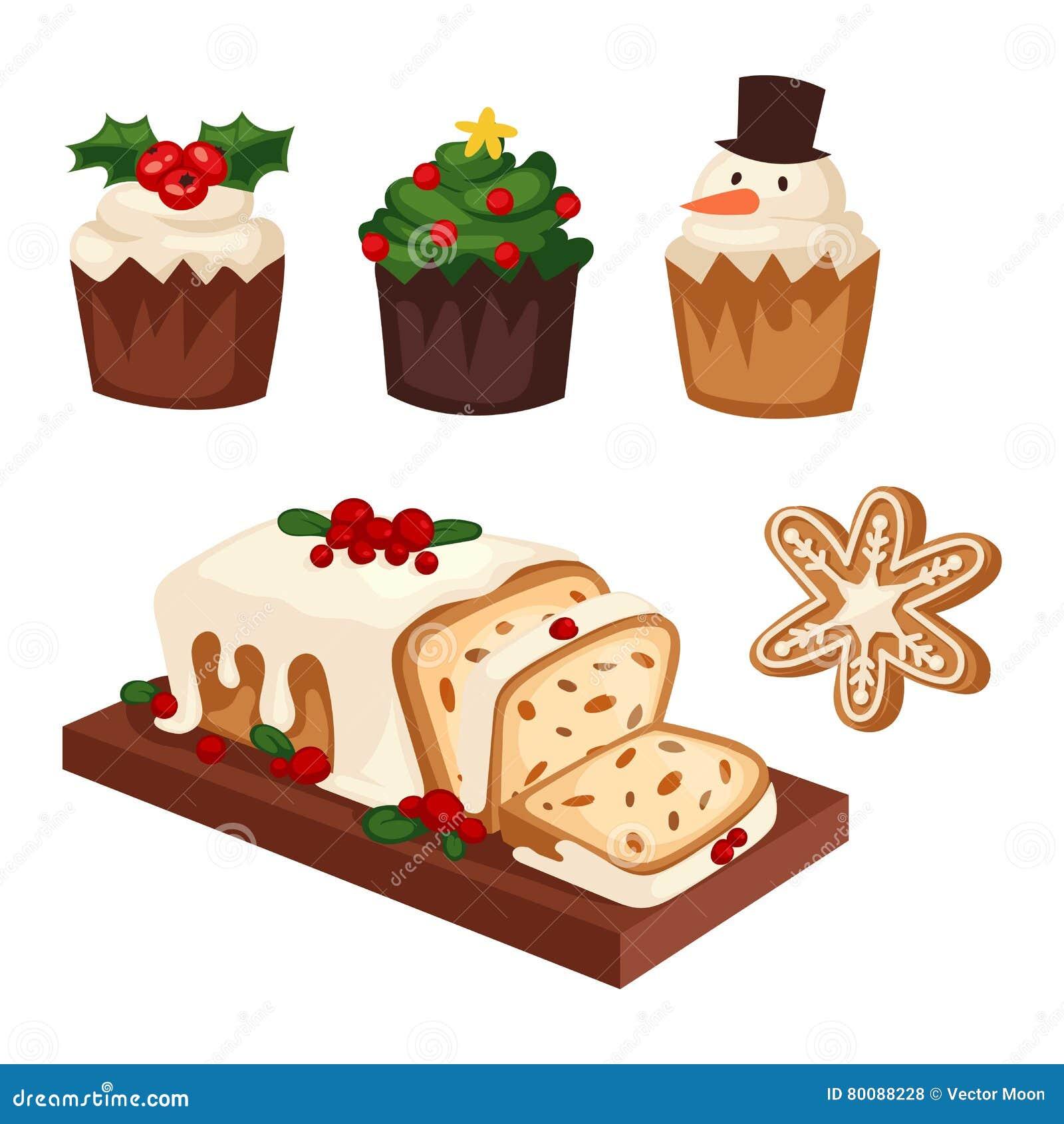 Icono del vector de la torta de la Navidad
