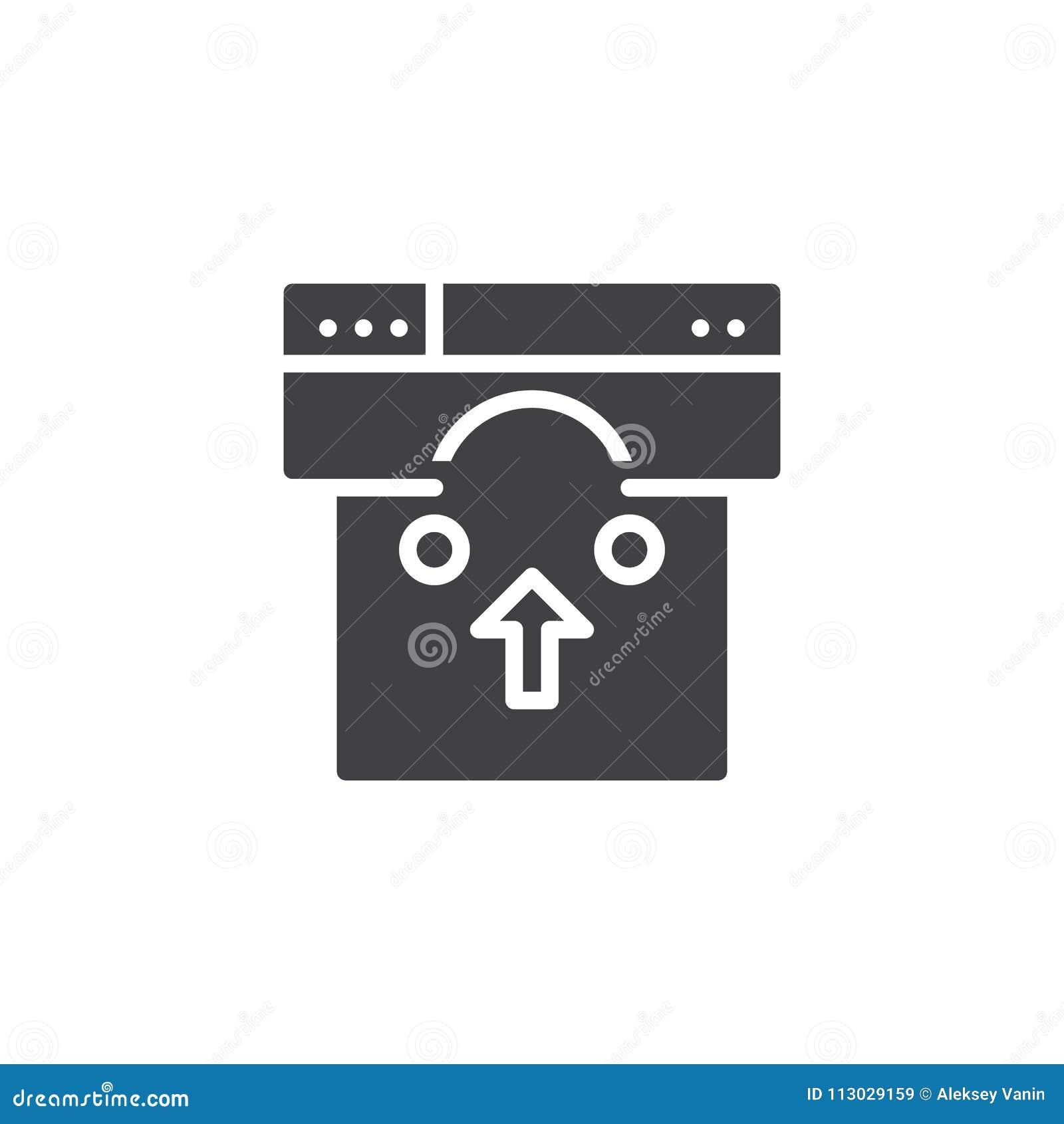 Icono del vector de la ventana de navegador y del panier
