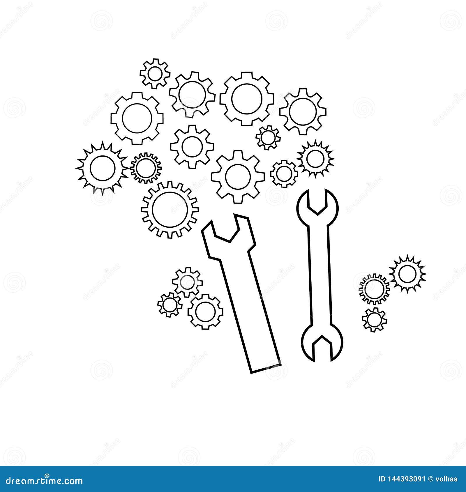 Icono del vector de las llaves y de los engranajes