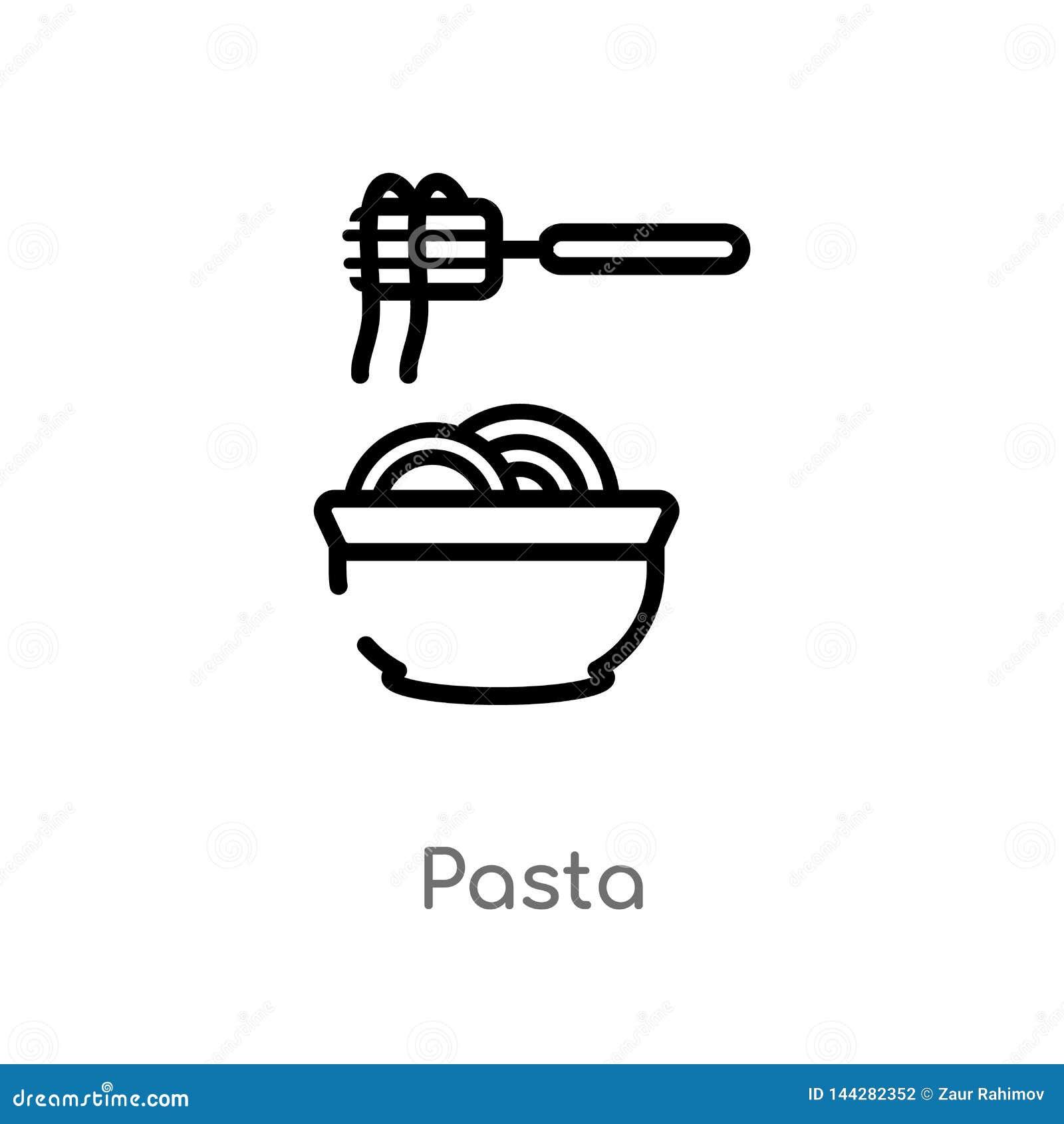 Icono del vector de las pastas del esquema l?nea simple negra aislada ejemplo del elemento del concepto de la comida icono editab