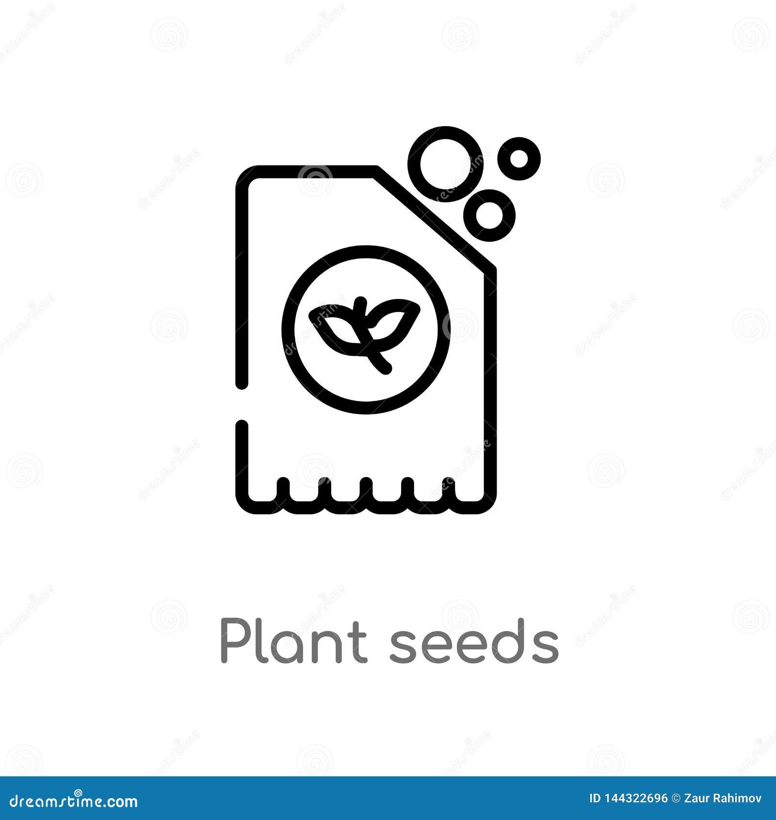 Icono del vector de las semillas de la planta del esquema l?nea simple negra aislada ejemplo del elemento de la agricultura que c