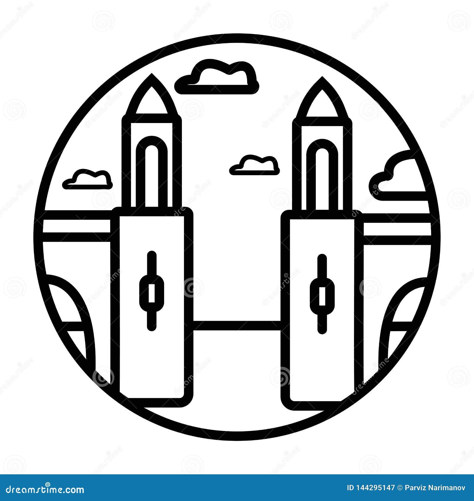 Icono del vector de Venecia aislado en el fondo transparente, concepto del logotipo de Venecia