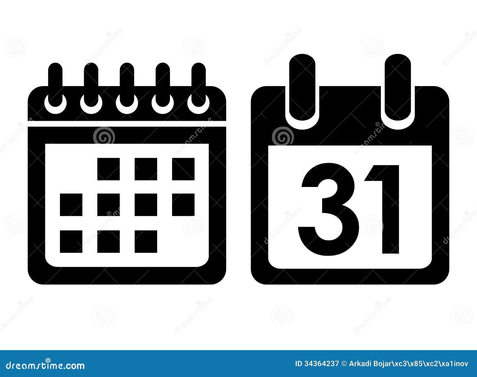 Calendario Vector Blanco.Icono Del Vector Del Calendario Ilustracion Del Vector