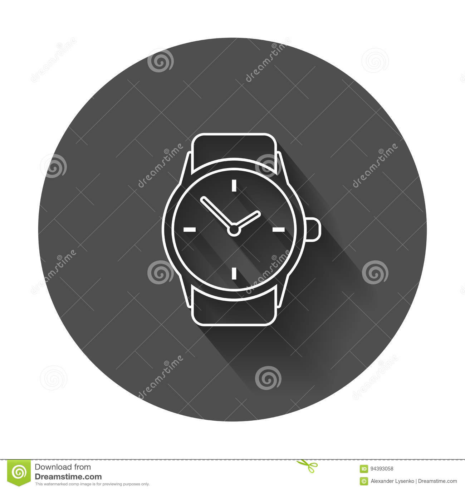 5defd0b37b7e Icono del vector del reloj en la línea estilo Ejemplo plano del reloj