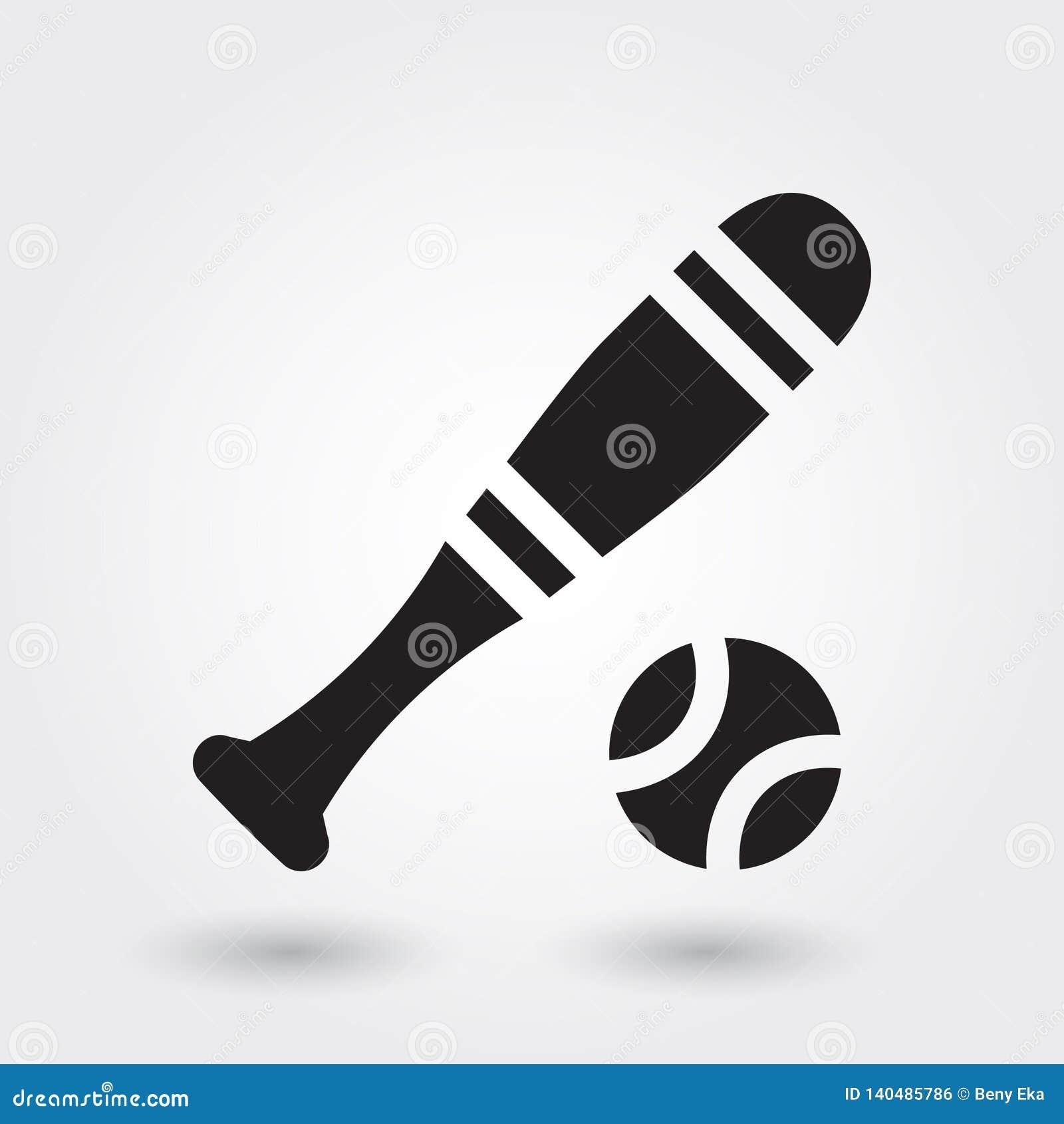 Icono del vector del deporte del béisbol, icono del palillo del béisbol, símbolo de los deportes Glyph moderno, simple